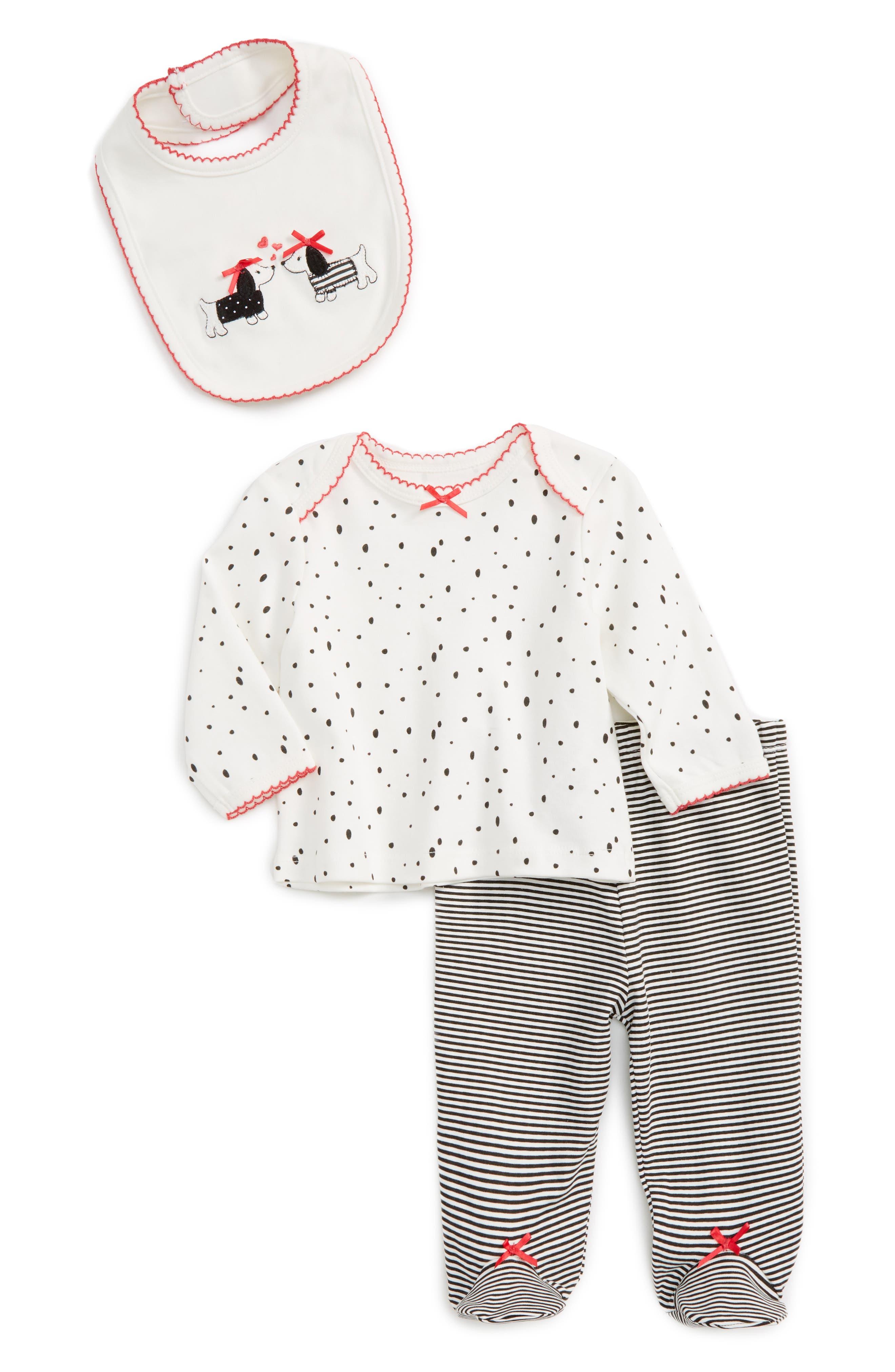 Little Me Dalmation Tee, Pants & Bib Set (Baby Girls)