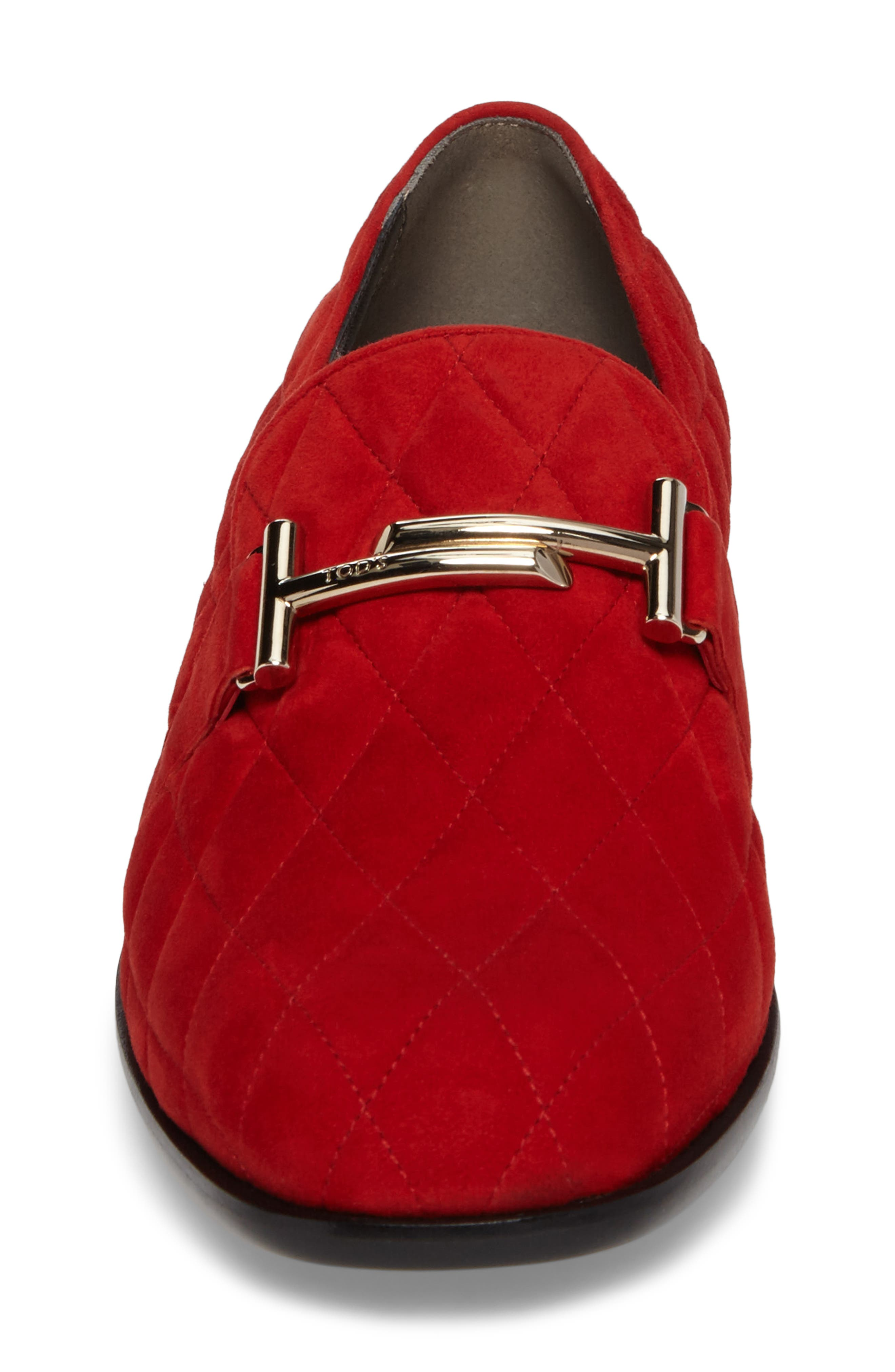 Quilted Double T Loafer,                             Alternate thumbnail 4, color,                             Red