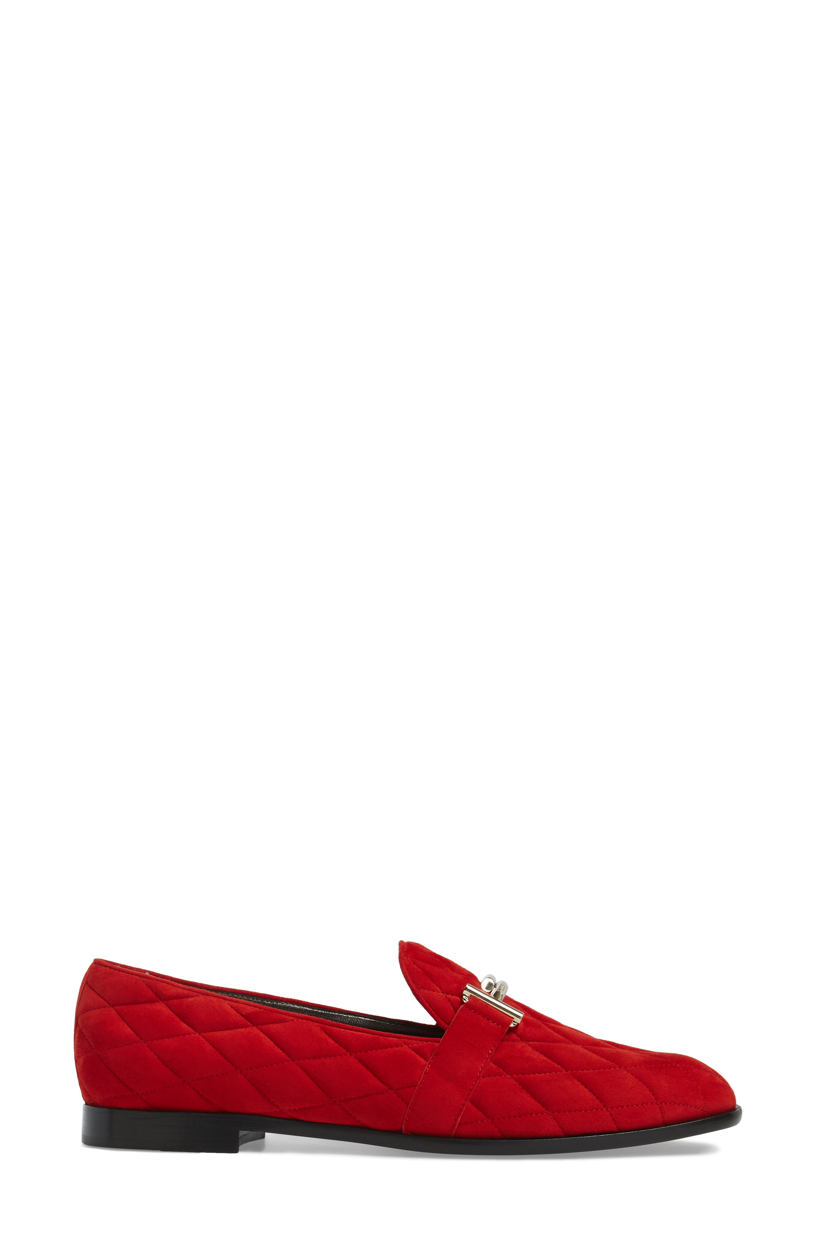 Quilted Double T Loafer,                             Alternate thumbnail 3, color,                             Red