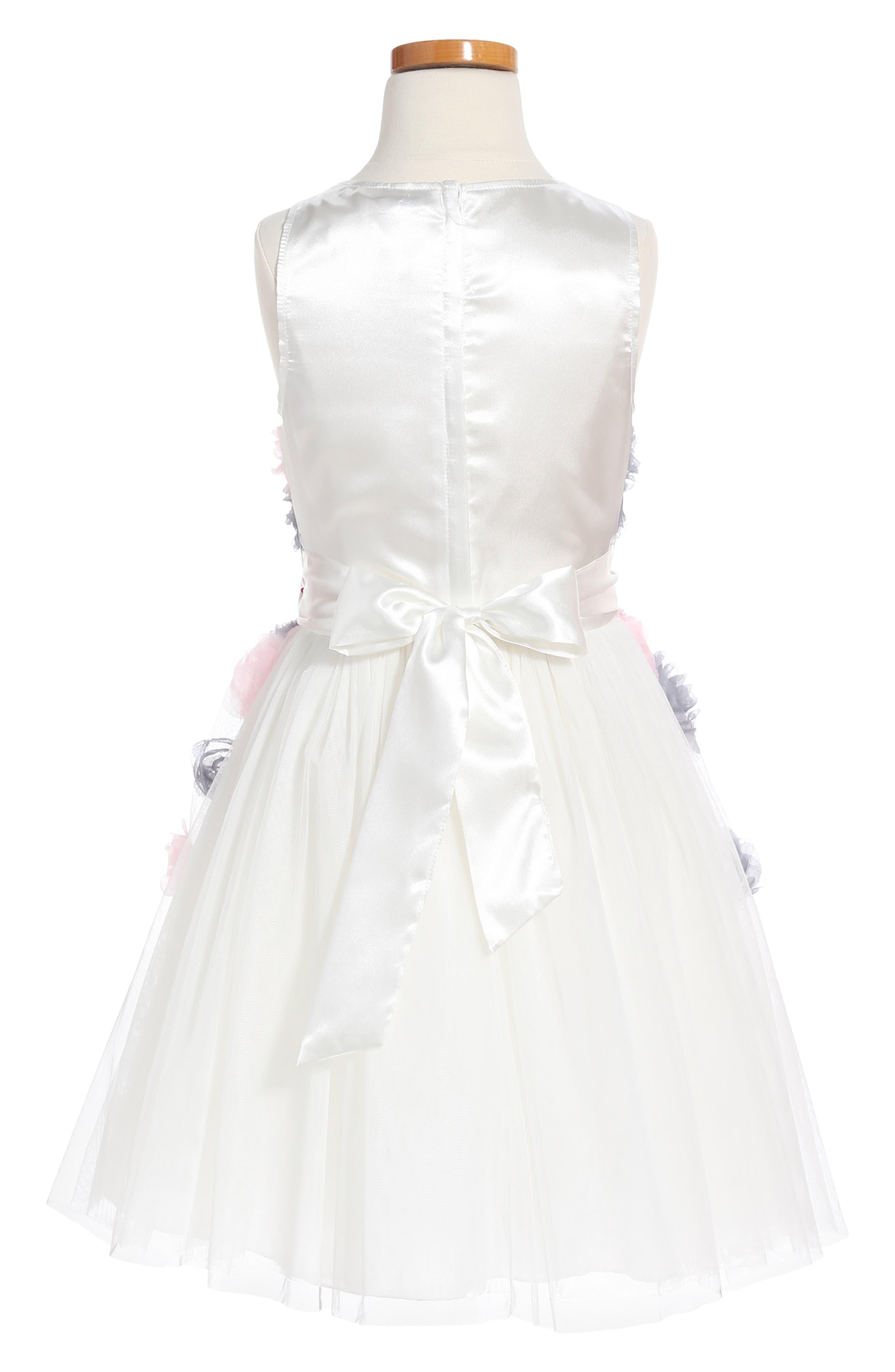 Flower Embellished Fit & Flare Mesh Dress,                             Alternate thumbnail 2, color,                             White