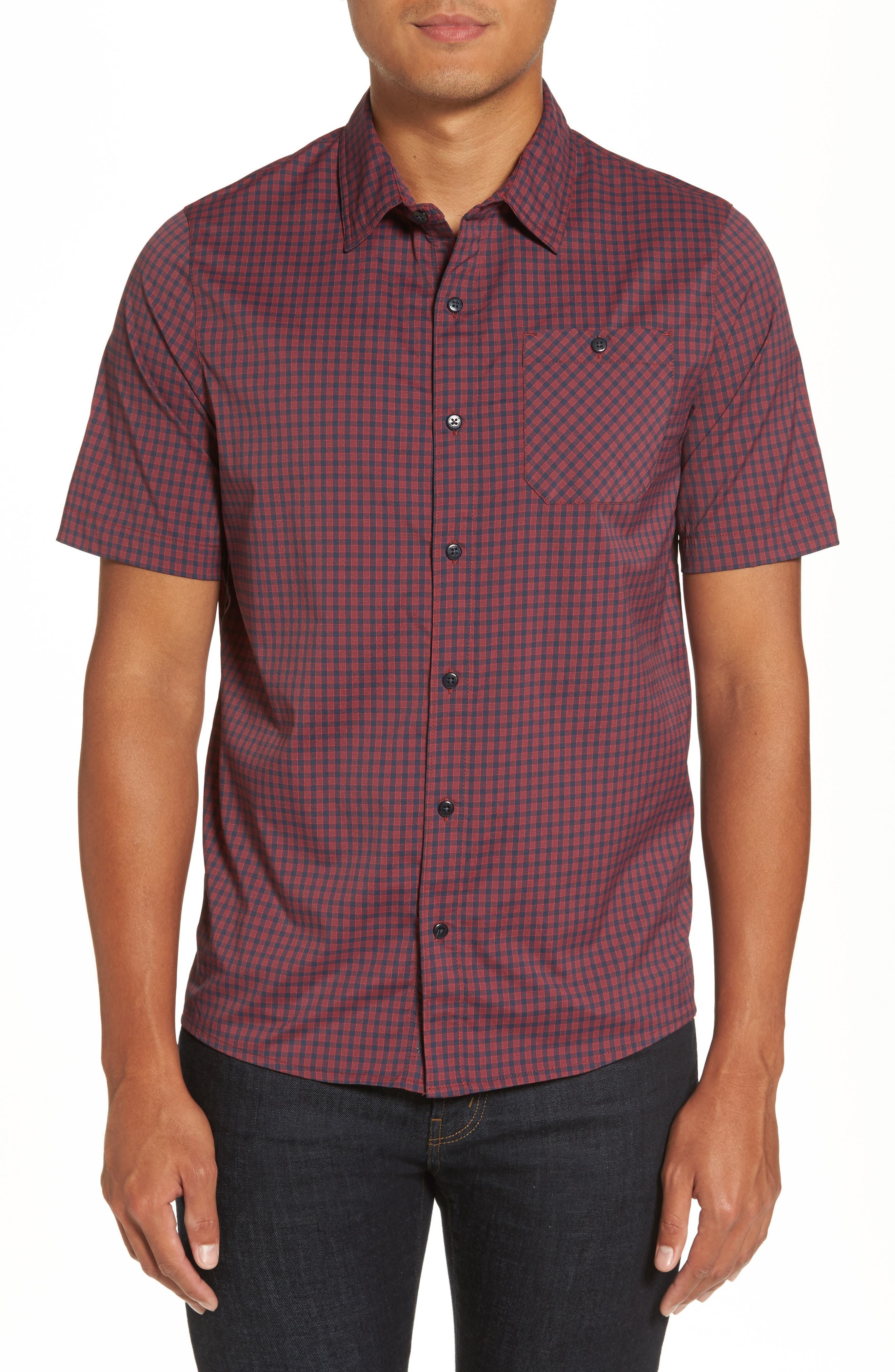 Banker Check Sport Shirt,                         Main,                         color, Blue Nights