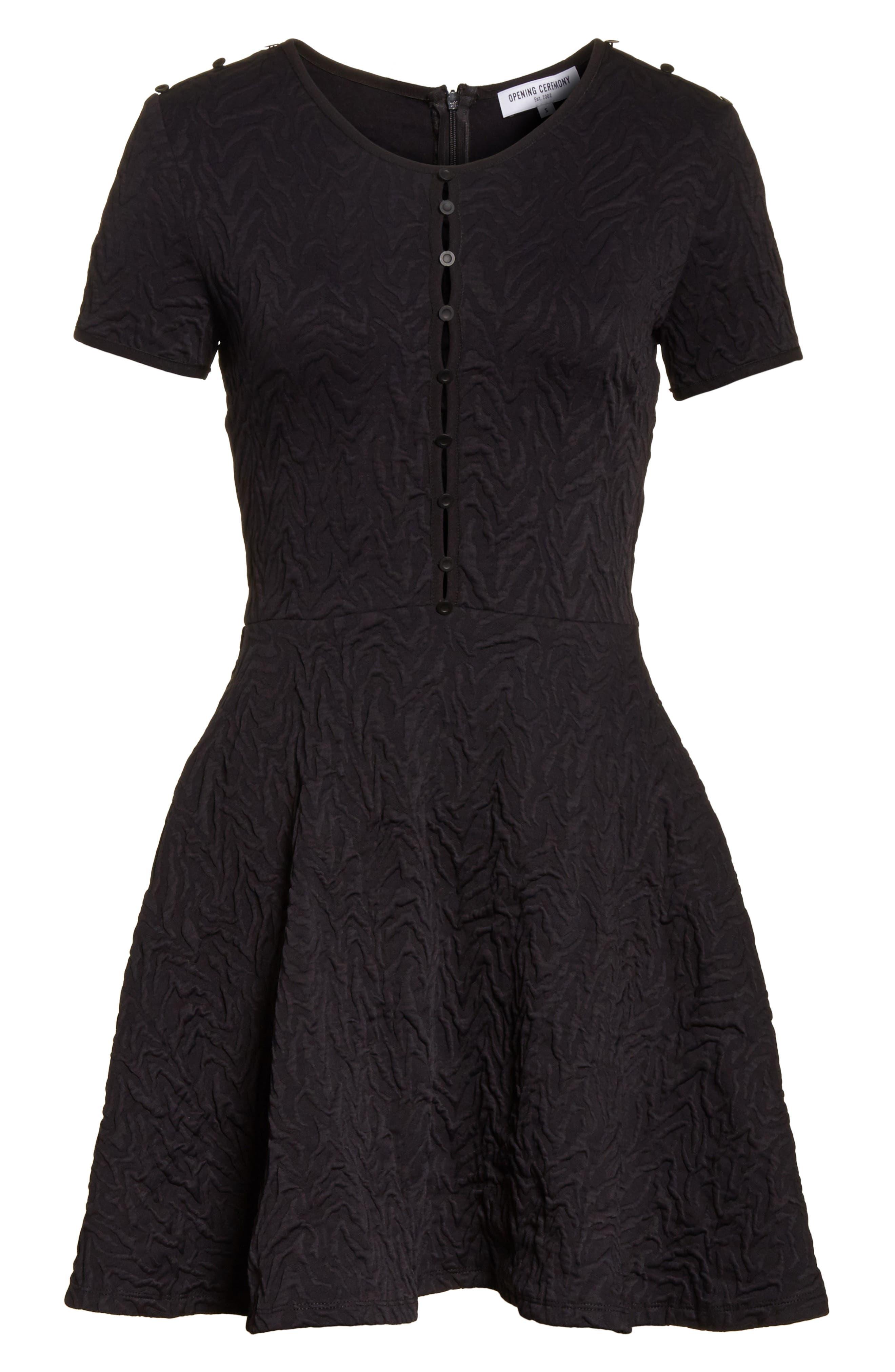 Desert Jacquard Flare Dress,                             Alternate thumbnail 6, color,                             Black