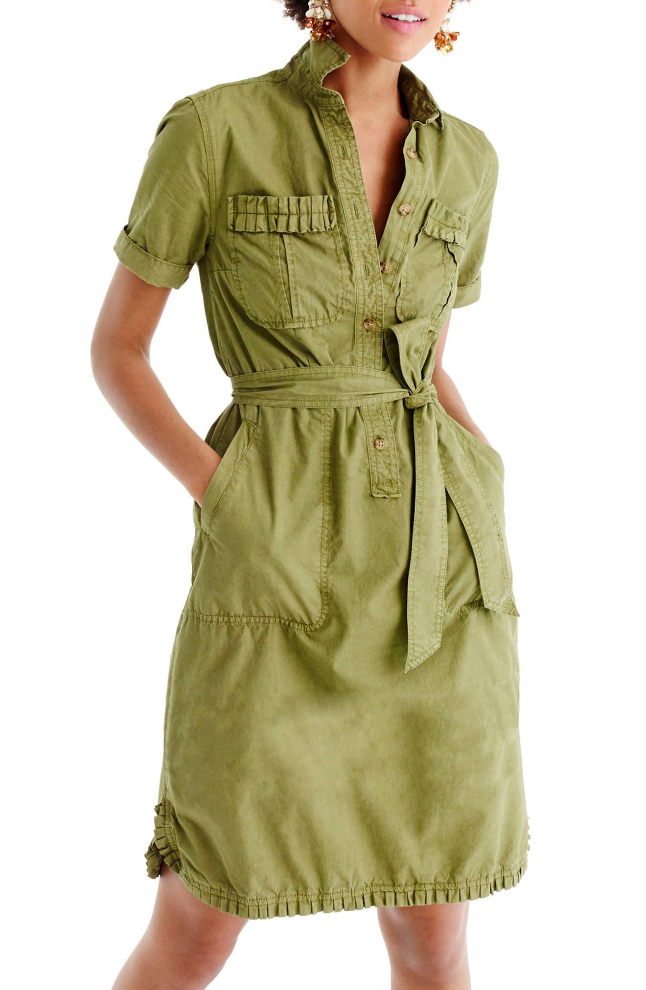 J.Crew Ruffle Hem Utility Shirtdress,                         Main,                         color, Safari