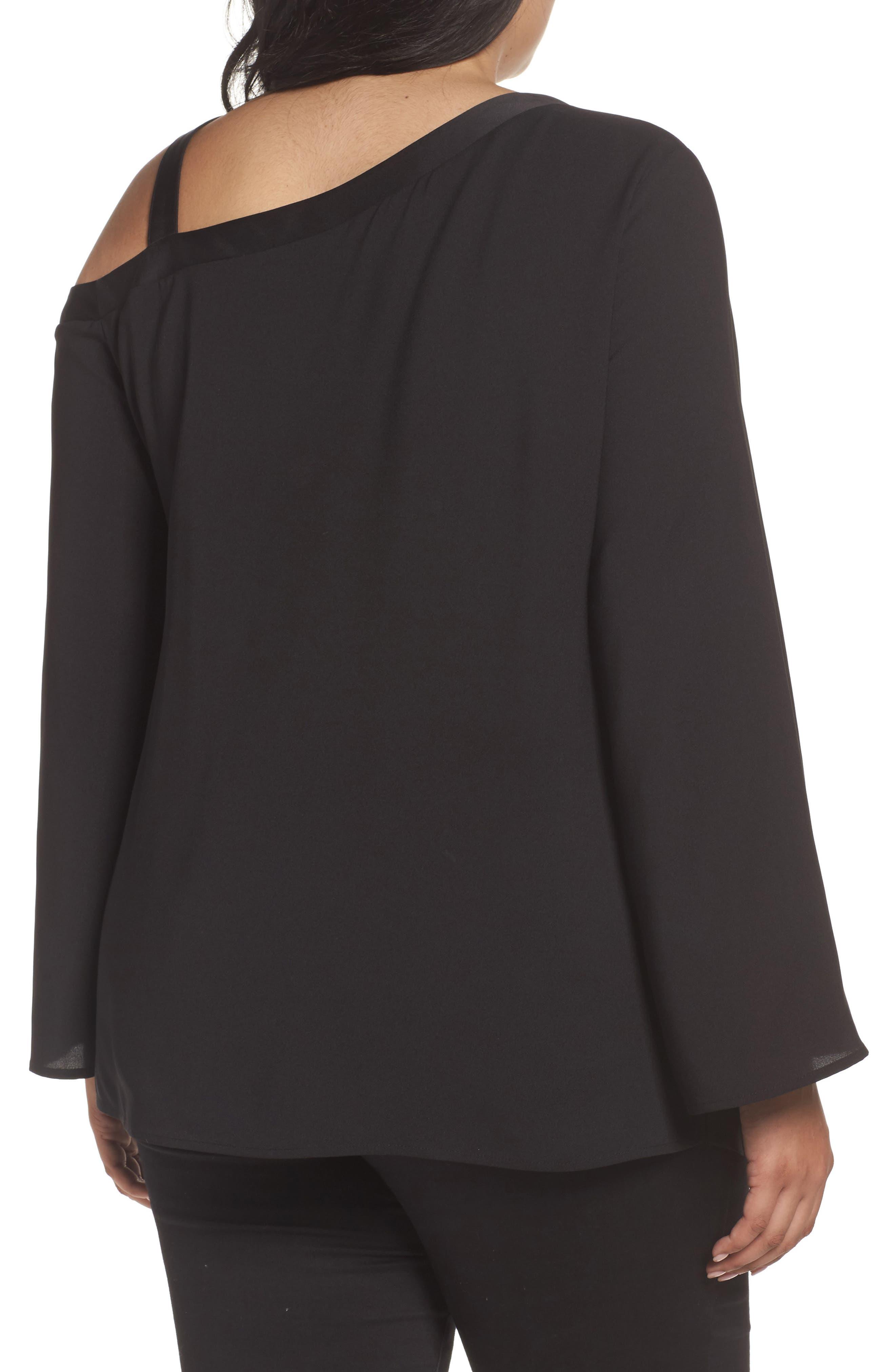 One-Shoulder Bell Sleeve Top,                             Alternate thumbnail 2, color,                             Black