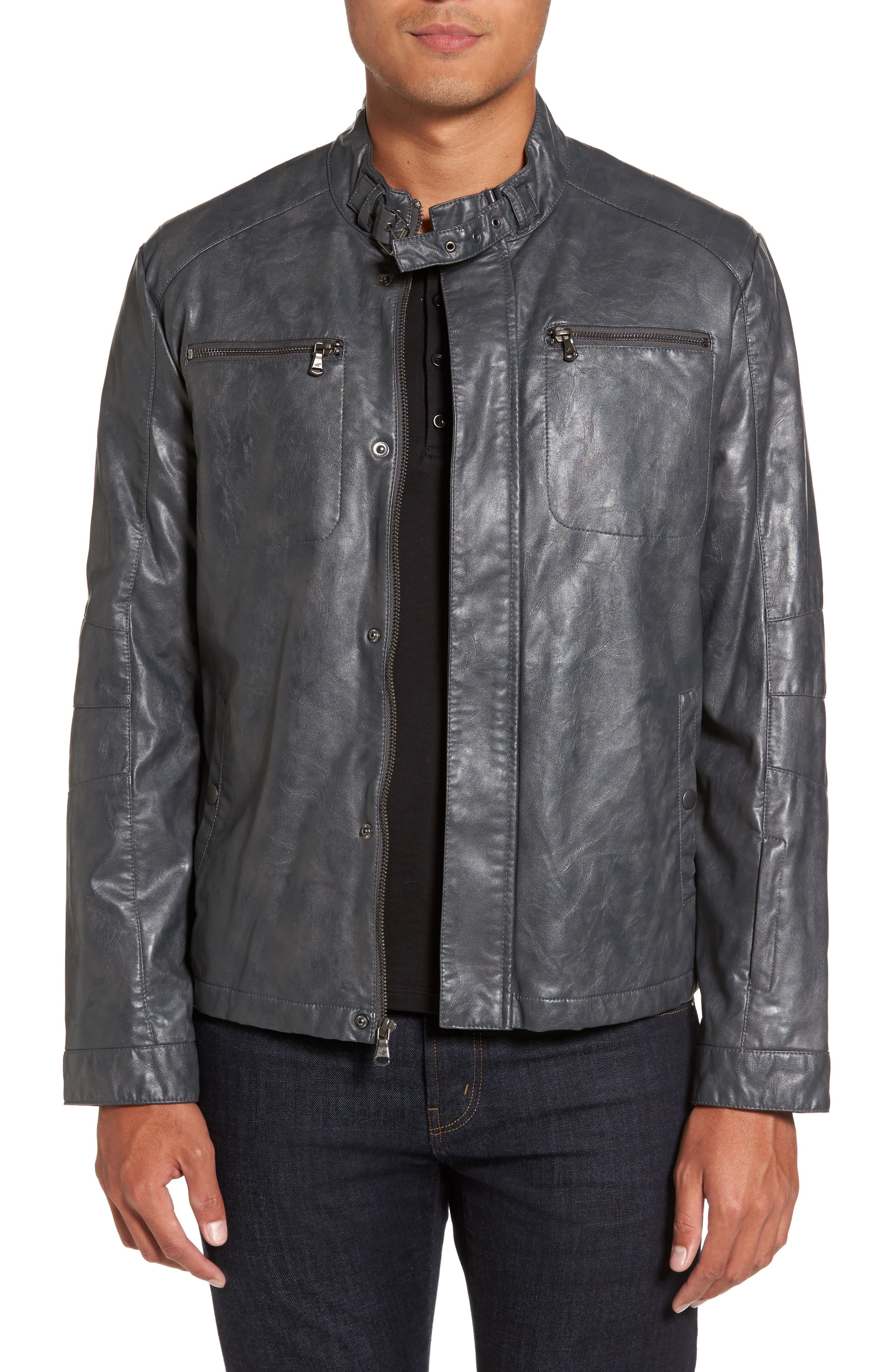Reaction Kenneth Cole Faux Leather Moto Jacket