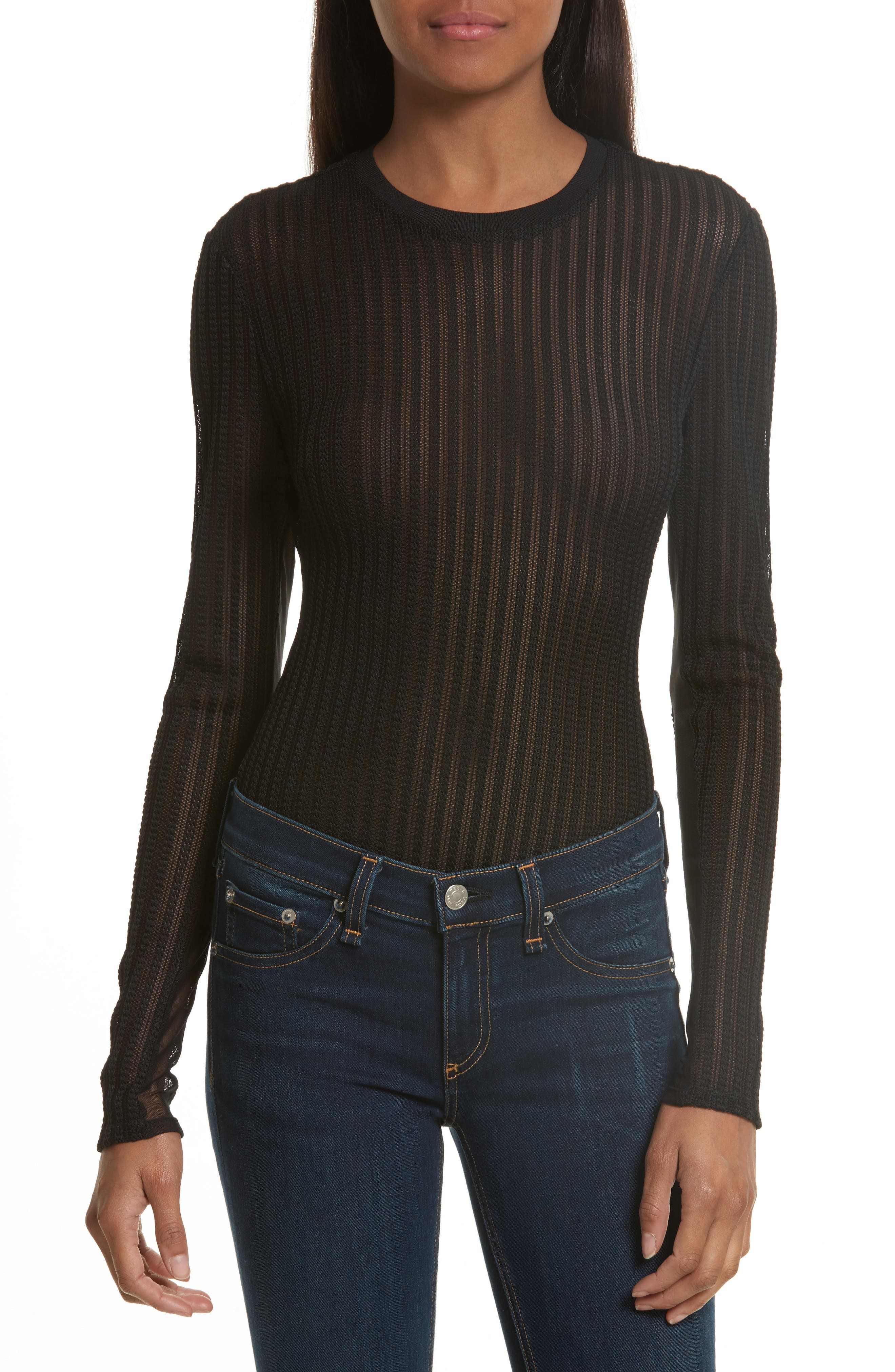 Cinq à Sept Paige Sheer Knit Bodysuit
