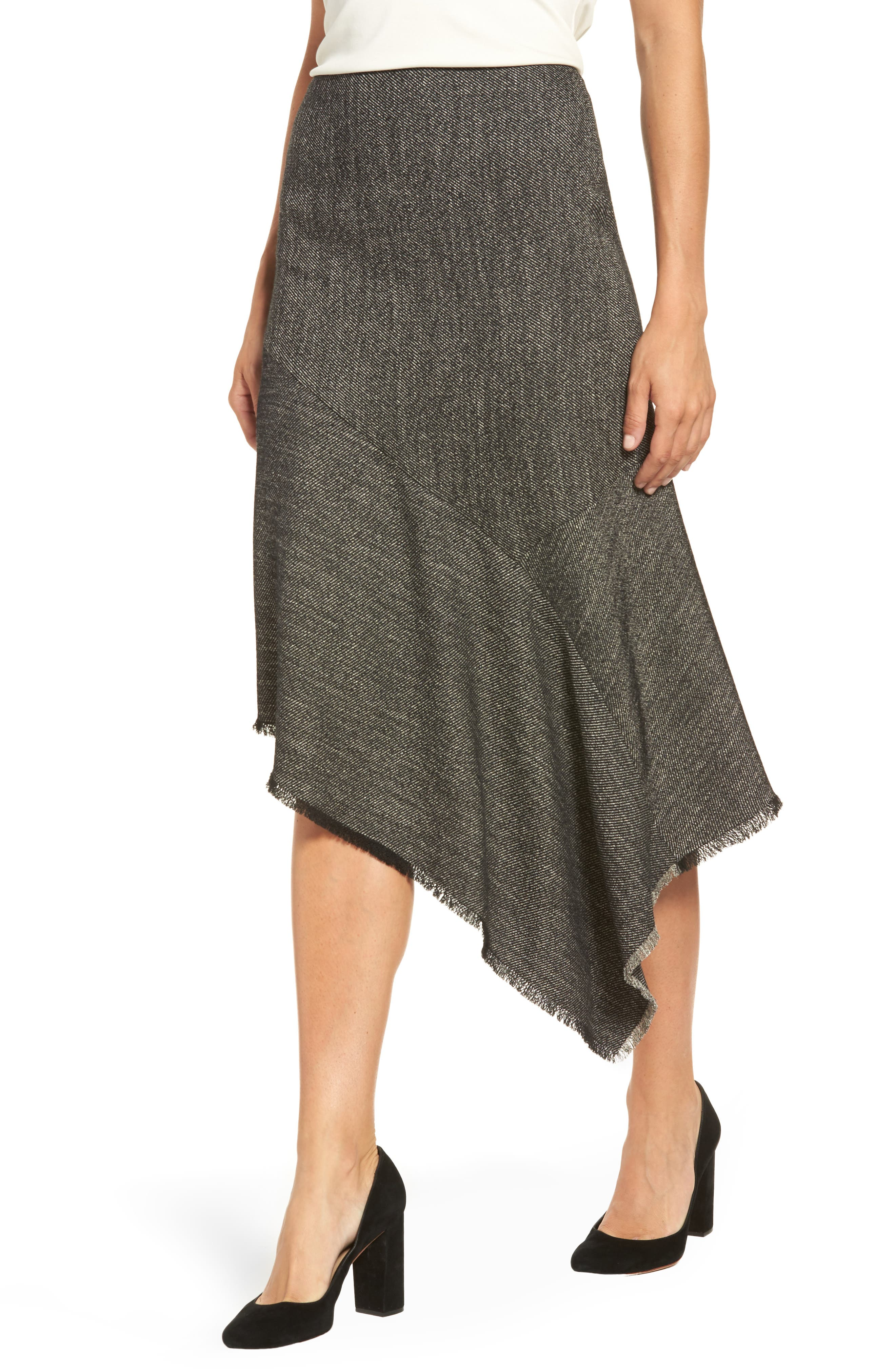 Asymmetrical Tweed Skirt,                             Alternate thumbnail 4, color,                             Black/ White