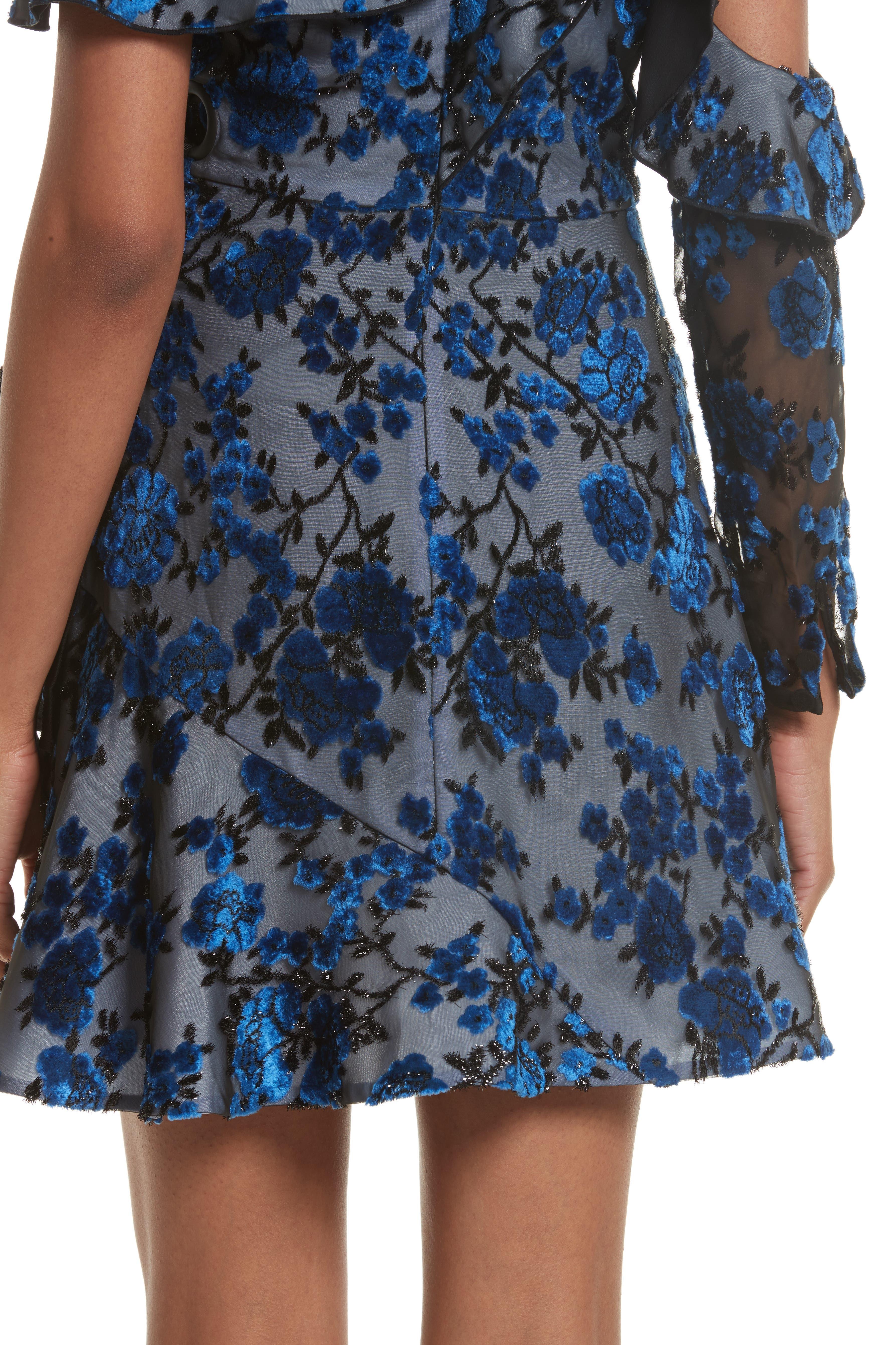 Velvet Devoré Minidress,                             Alternate thumbnail 5, color,                             Blue