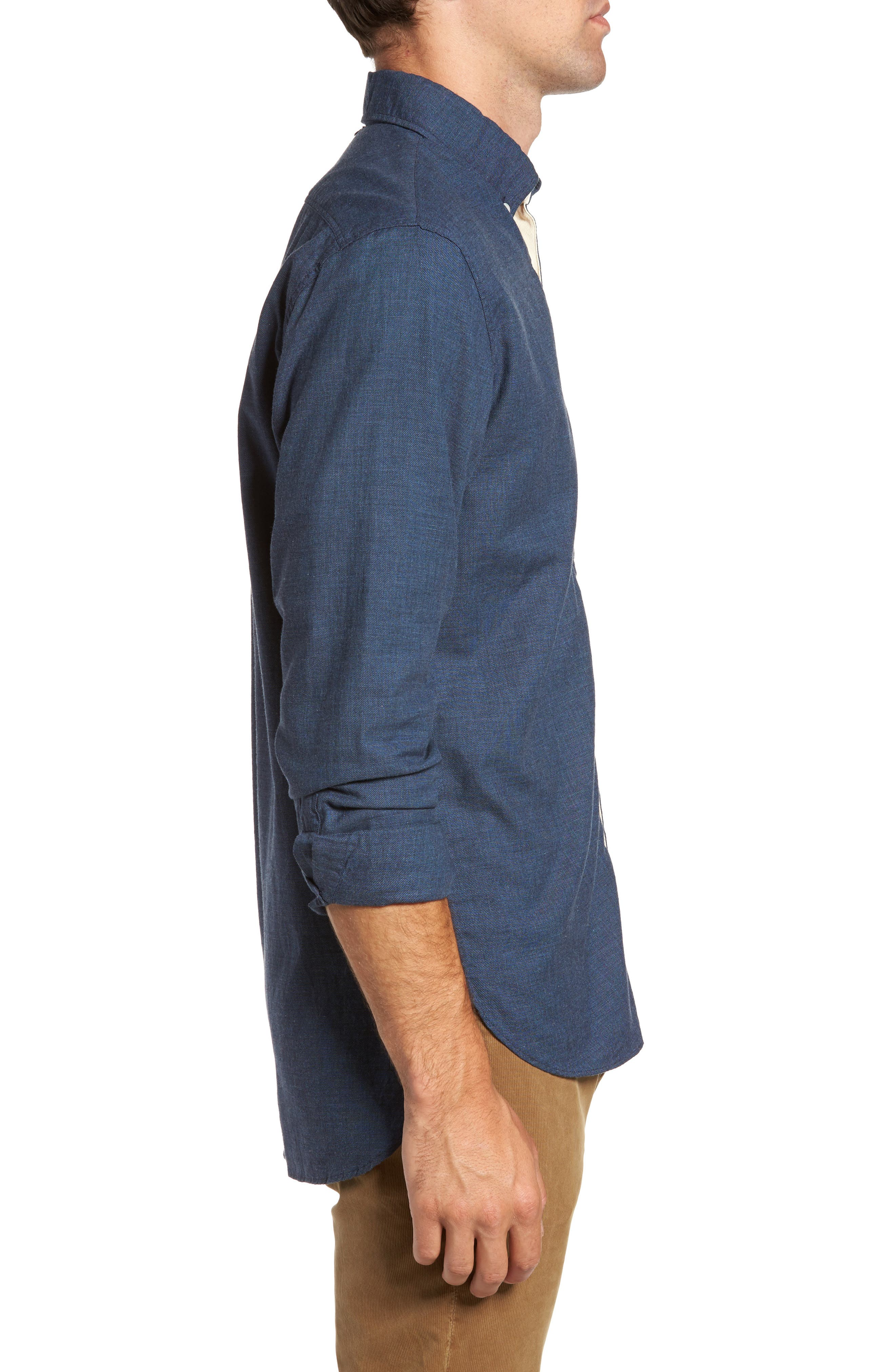 Standard Fit Irvine Sport Shirt,                             Alternate thumbnail 3, color,                             Navy
