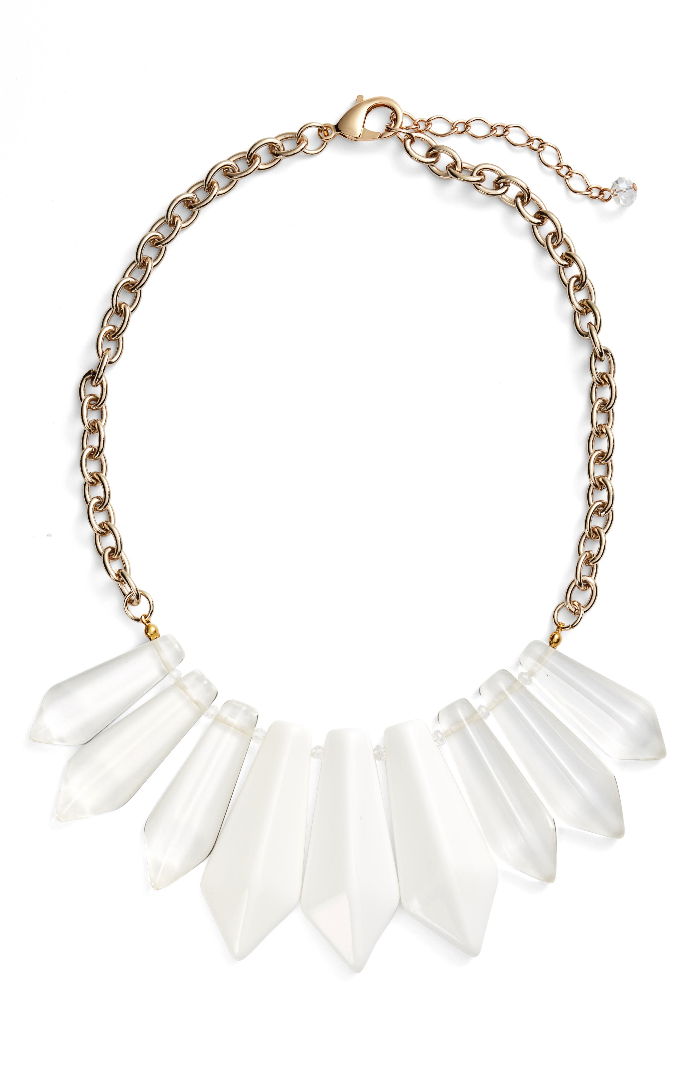 Spiked Resin Statement Necklace,                         Main,                         color, White/ Clear