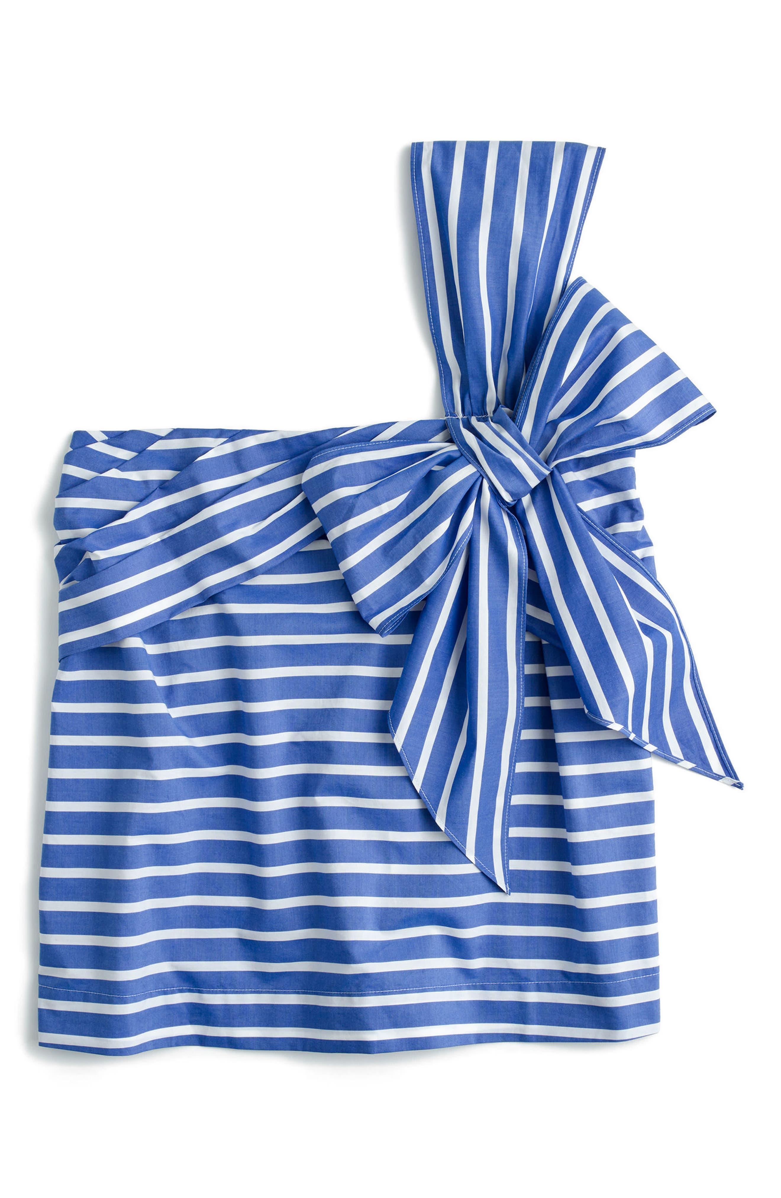 J.Crew Stripe Cotton One-Shoulder Bow Top,                             Alternate thumbnail 3, color,                             White Blue