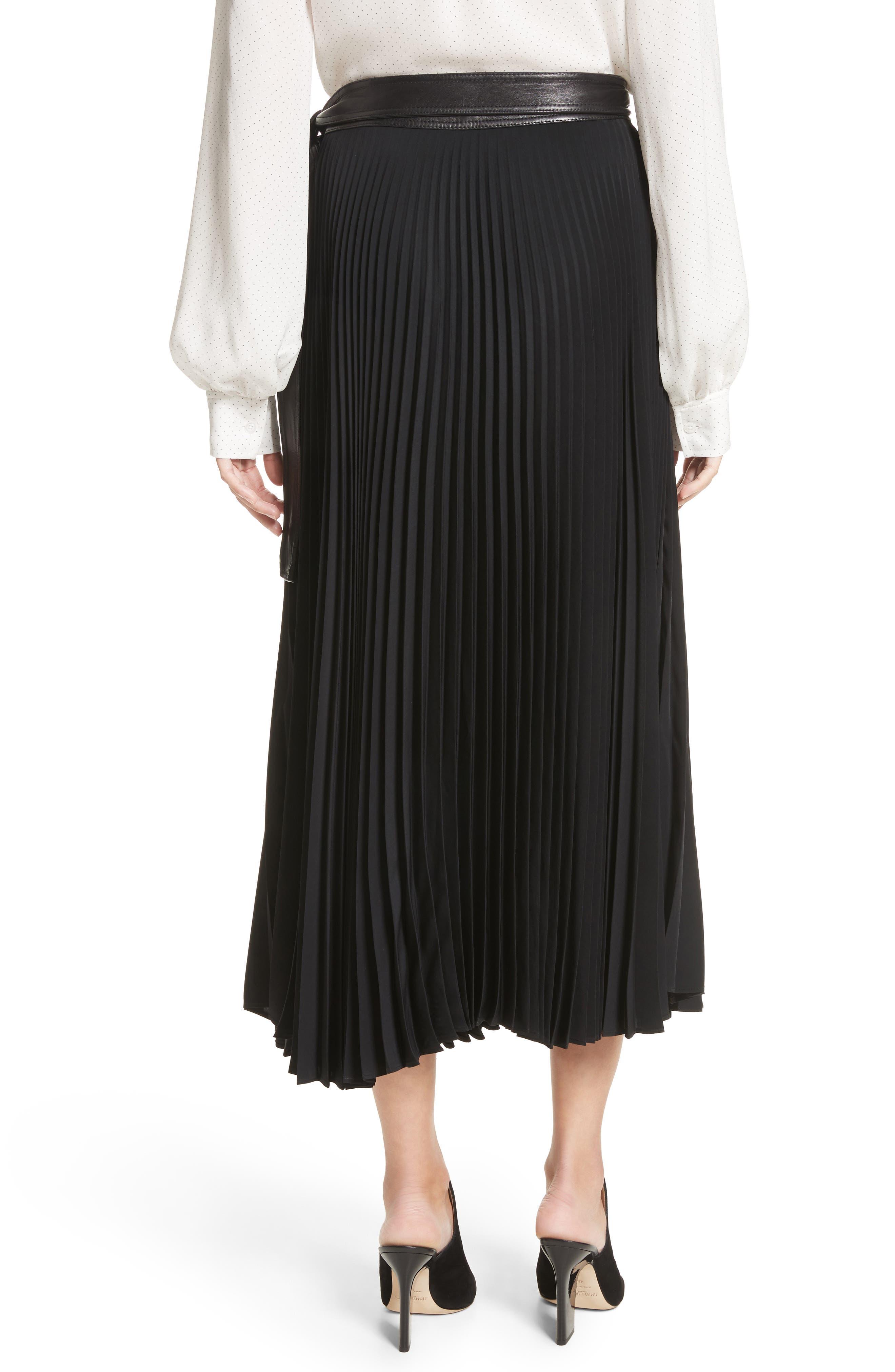 Anika Leather Trim Pleated Midi Skirt,                             Alternate thumbnail 3, color,                             Black