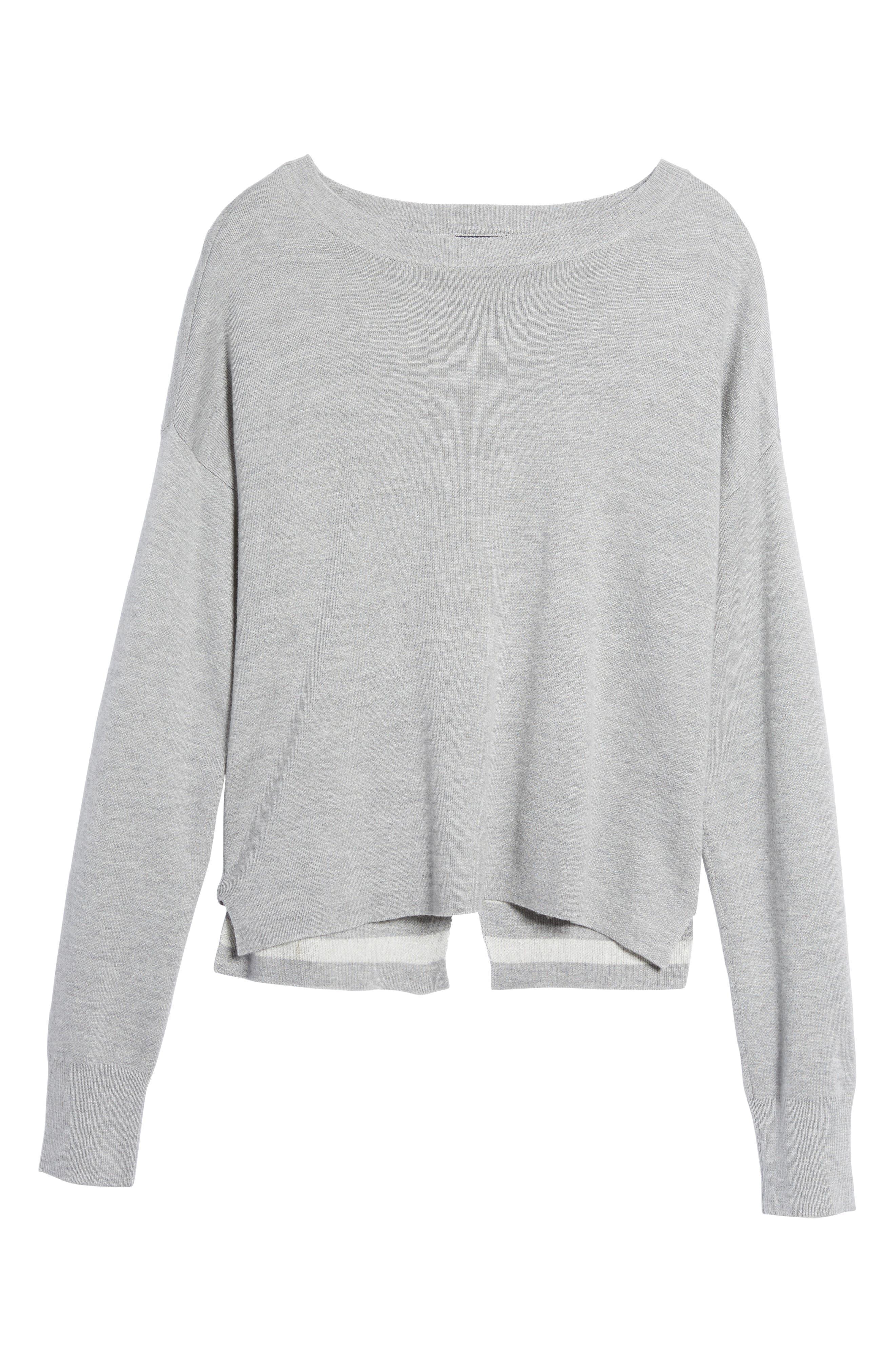 Devon Crossback Sweater,                             Alternate thumbnail 6, color,                             Light Heather Grey
