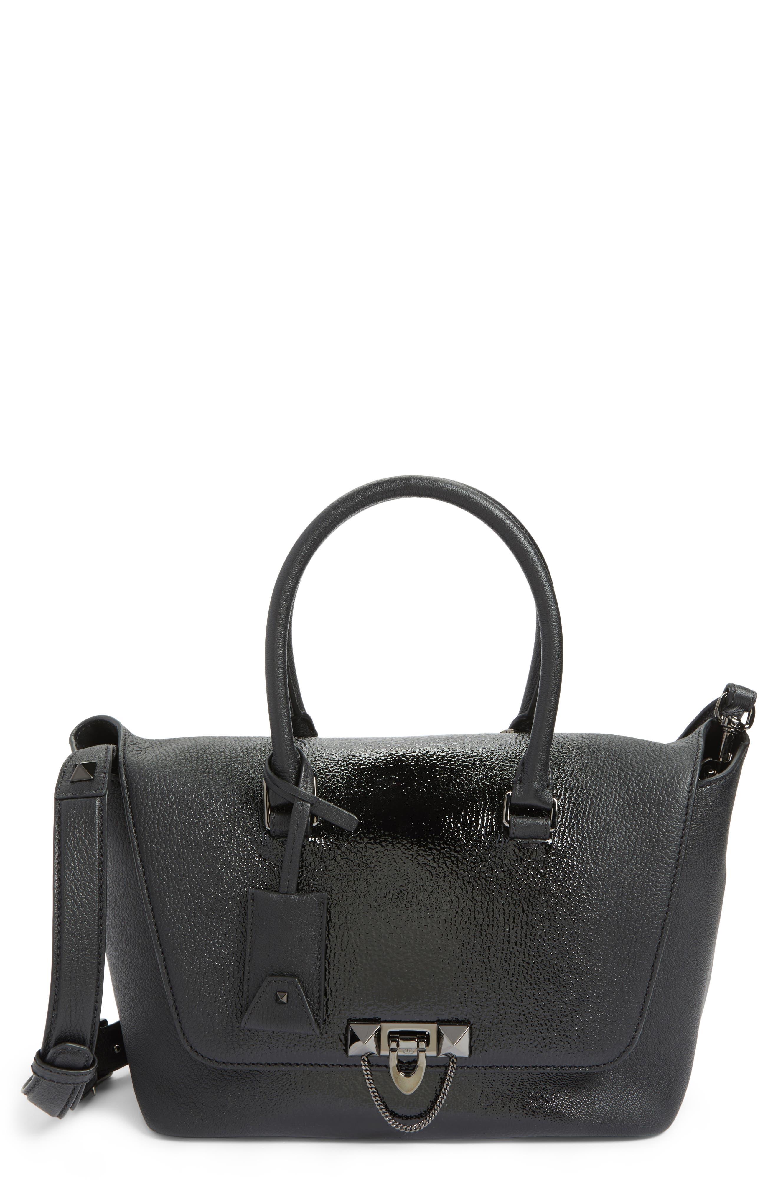 VALENTINO GARAVANI Demilune Top Handle Leather Satchel