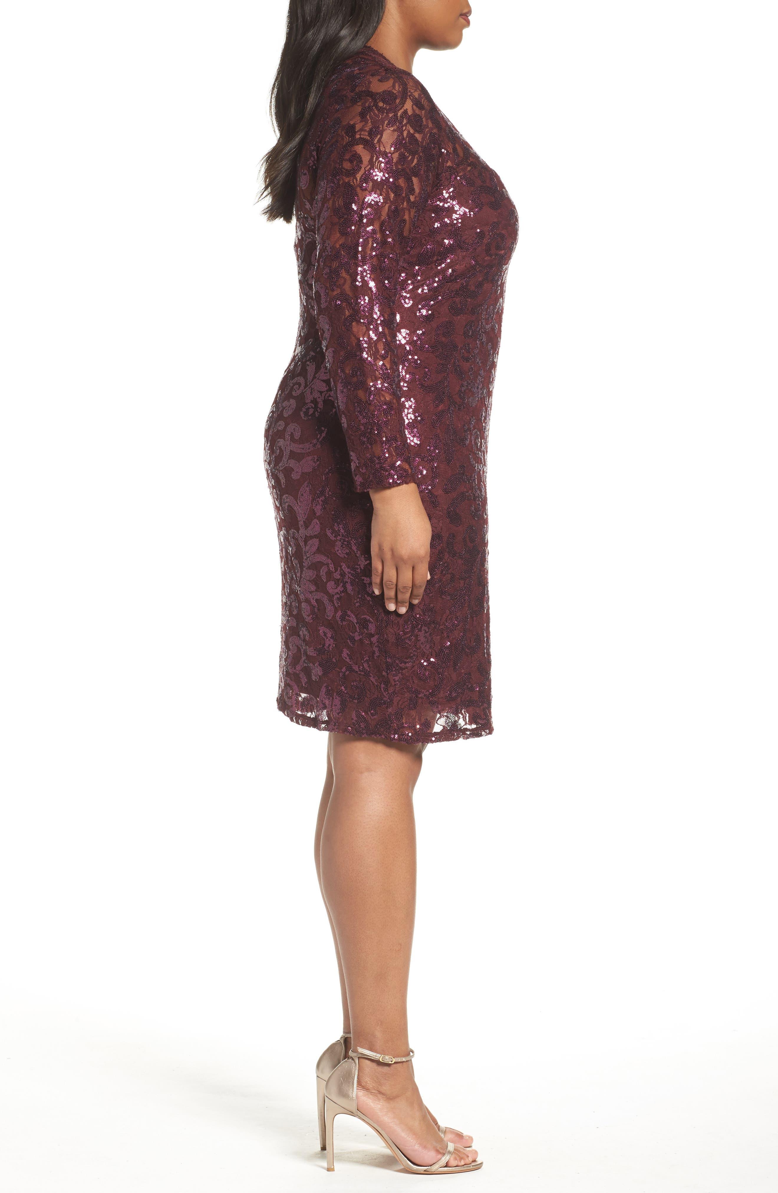 Alternate Image 3  - Marina Sequin Lace Stretch Sheath Dress (Plus Size)