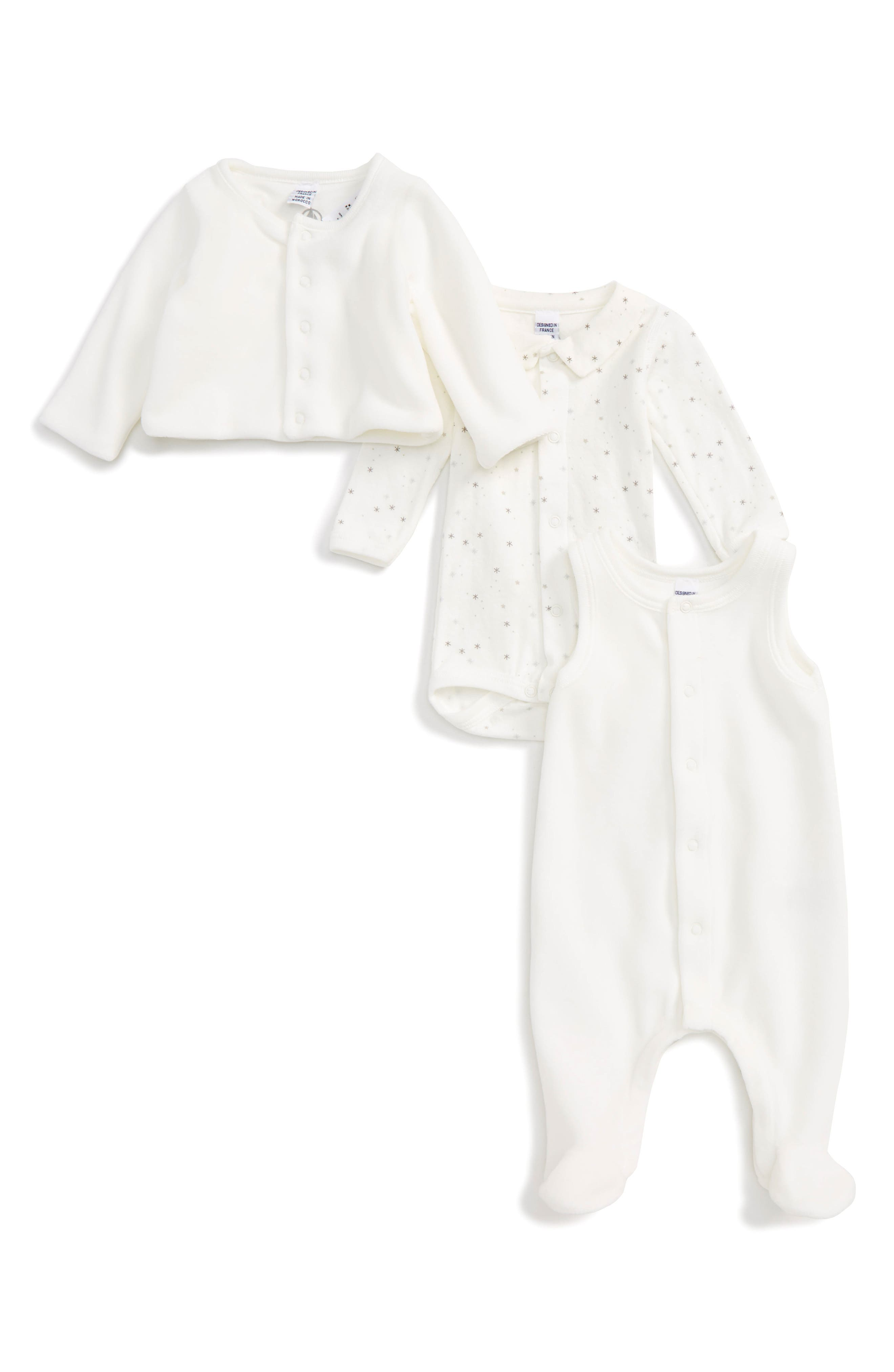 Petit Bateau Jacket, Bodysuit & Footed Romper Set (Baby)