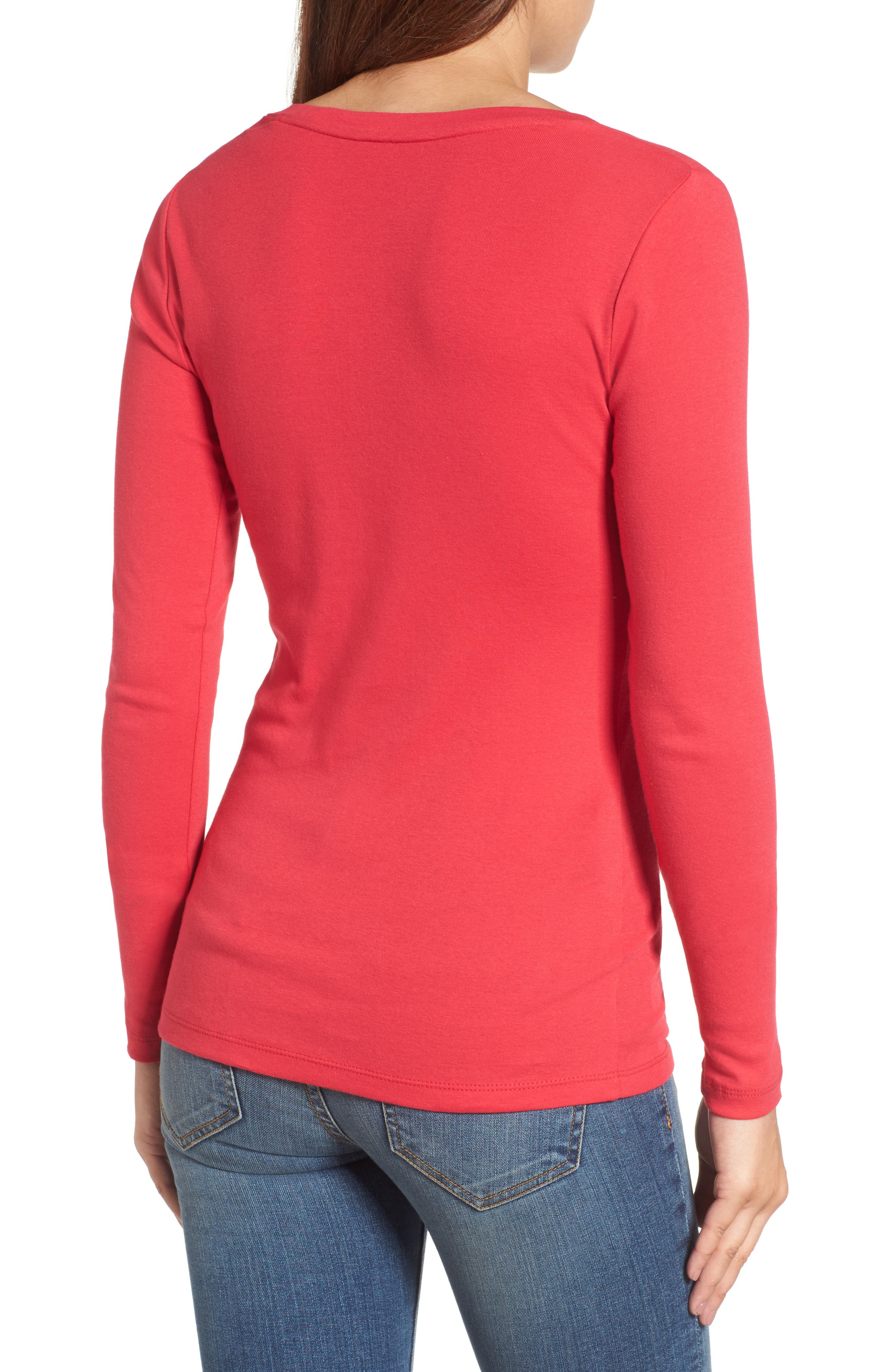 'Melody' Long Sleeve Scoop Neck Tee,                             Alternate thumbnail 2, color,                             Red Barberry