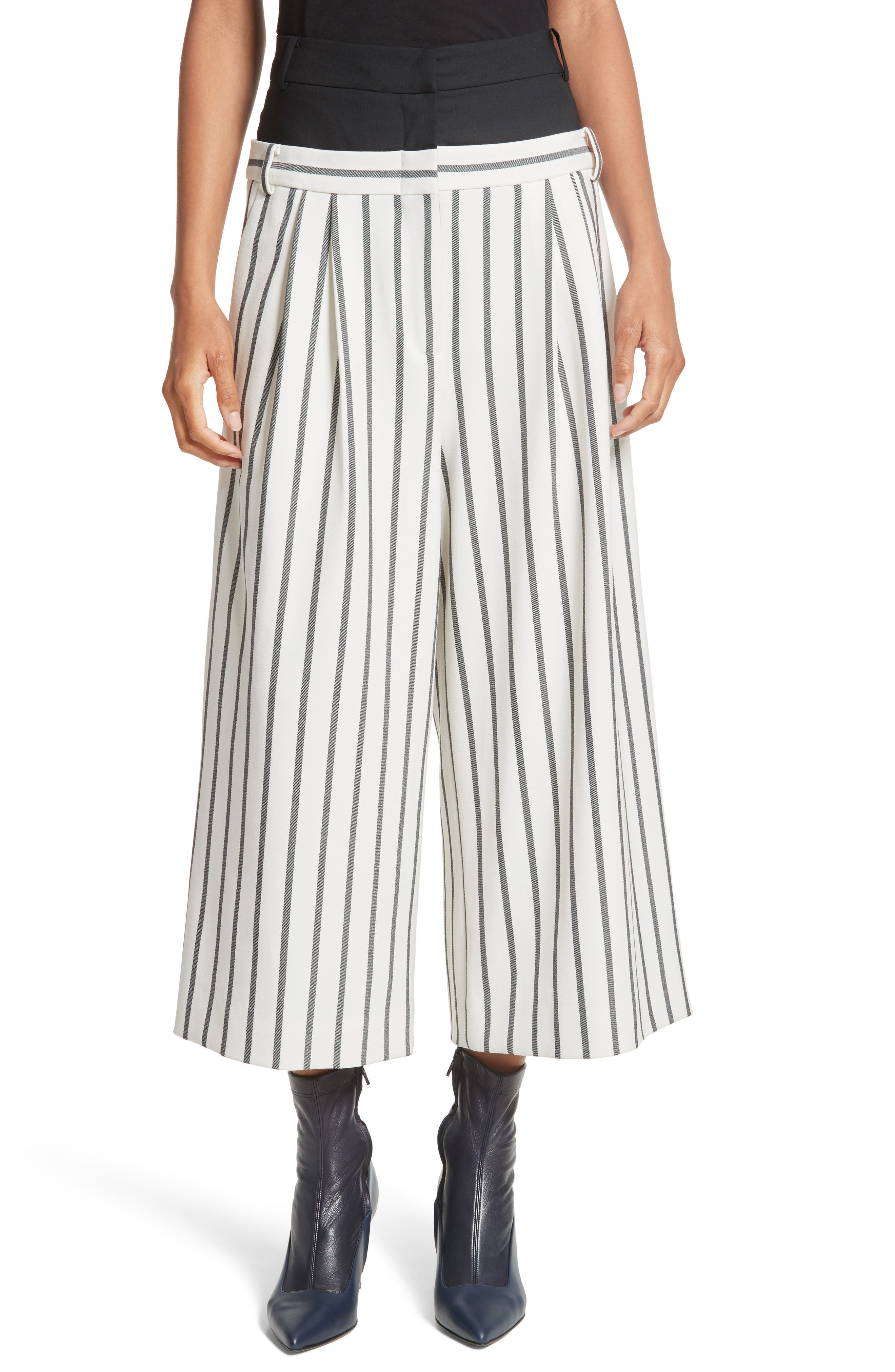 Tibi Lucci Stripe Crop Wide Leg Pants