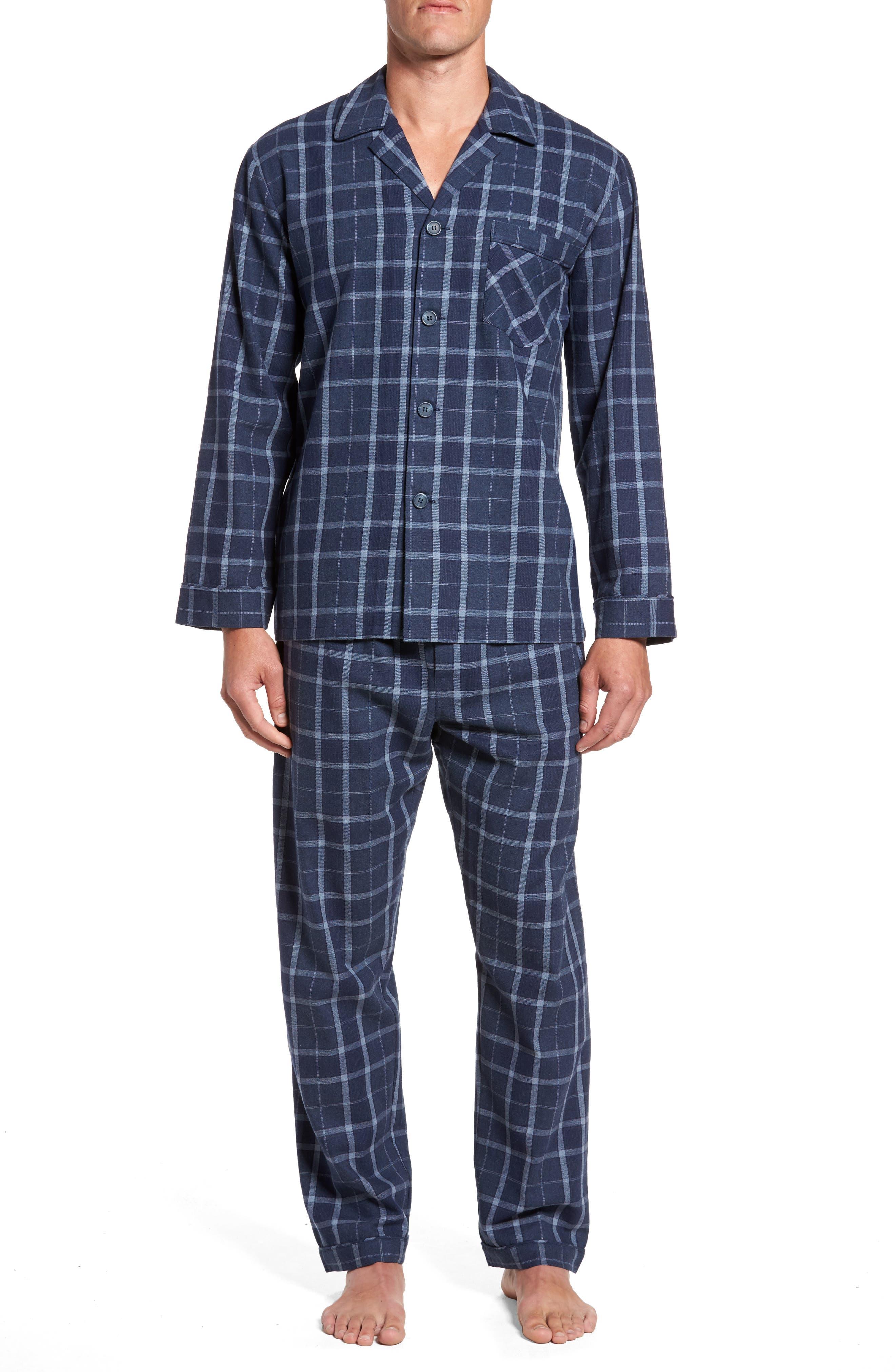 Guiness Plaid Pajama Set,                             Main thumbnail 1, color,                             Navy