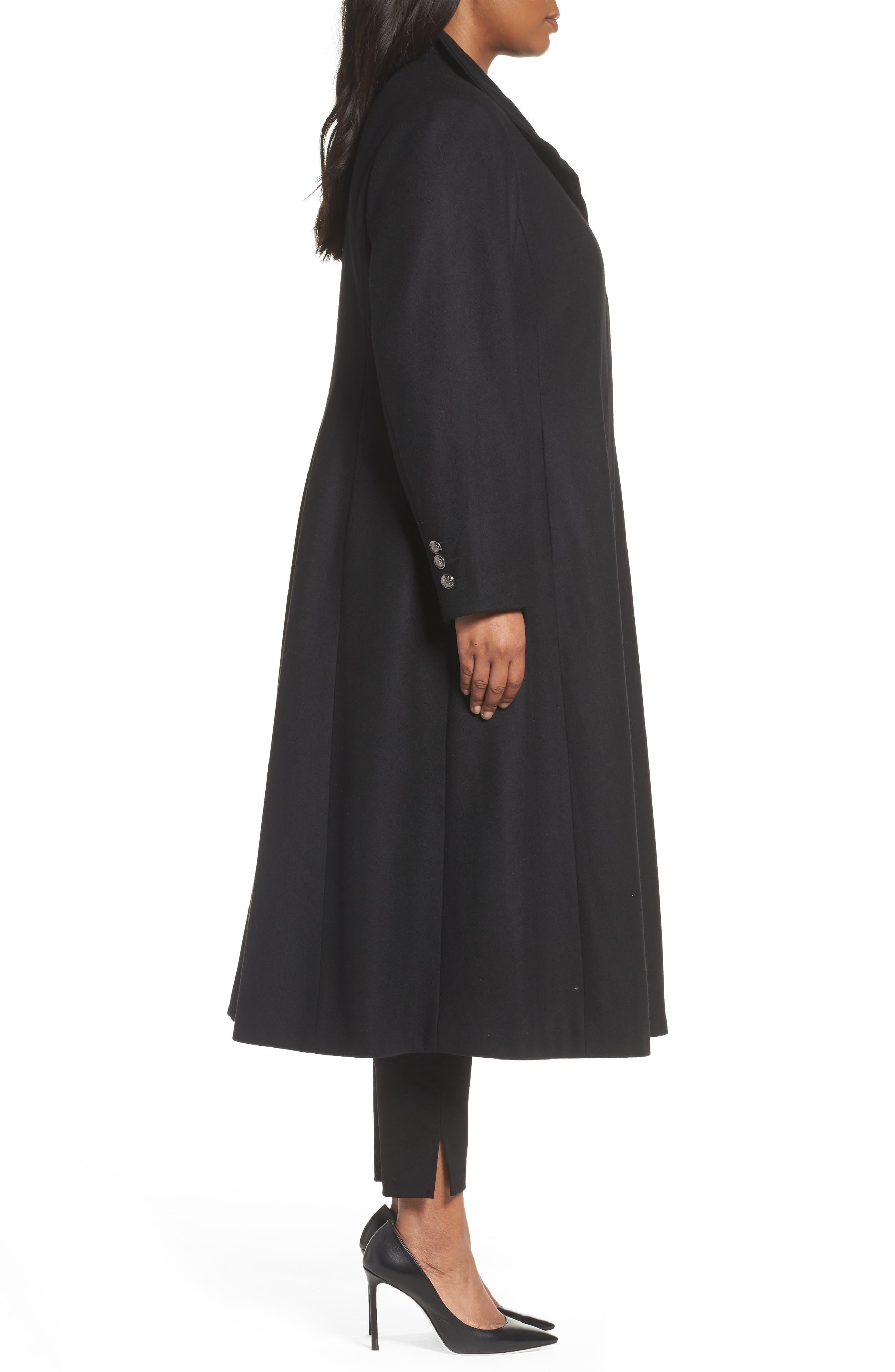 Full Length Wool Blend Coat,                             Alternate thumbnail 3, color,                             Black