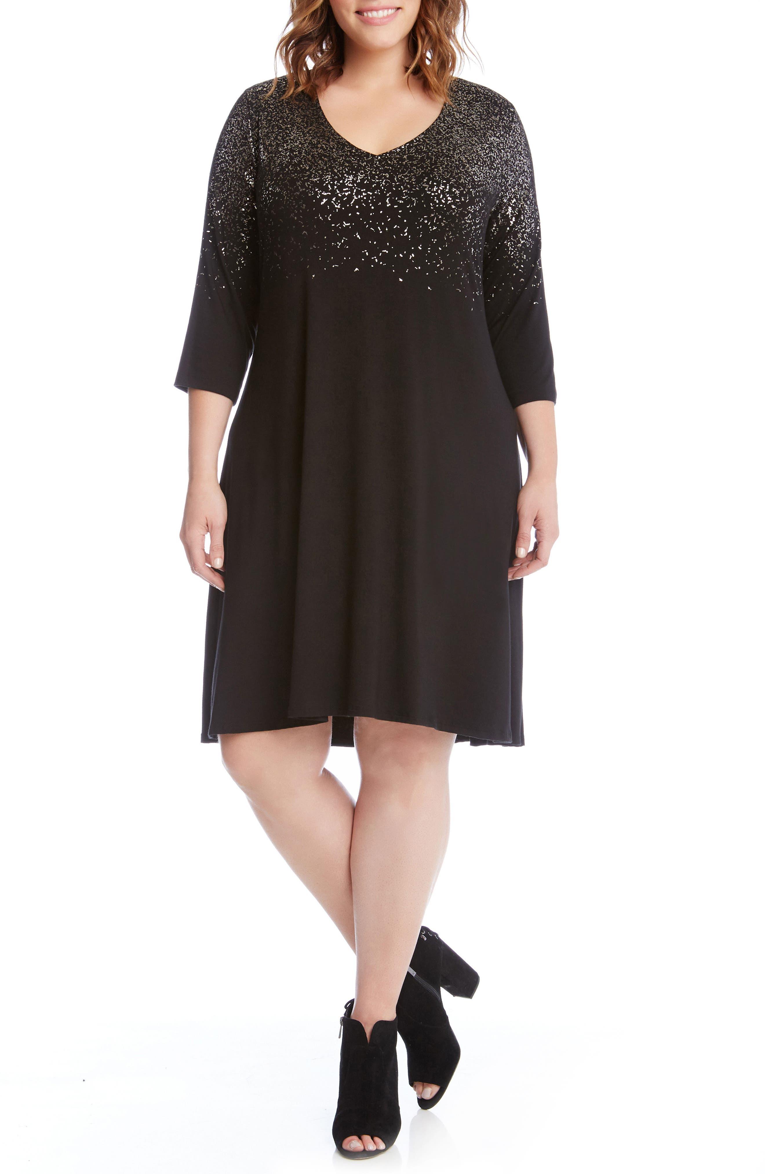 Alternate Image 1 Selected - Karen Kane Speckled Print A-Line Dress (Plus Size)
