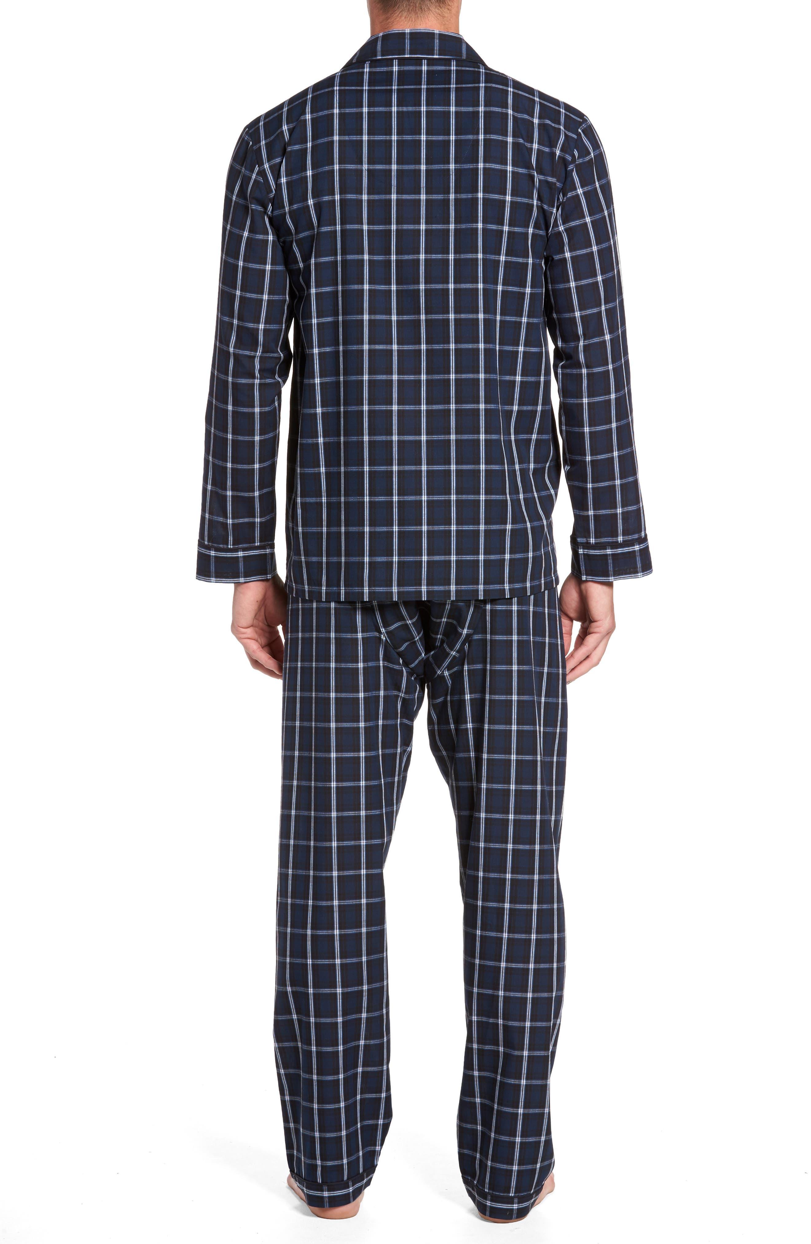 Channing Windowpane Pajama Set,                             Alternate thumbnail 2, color,                             Navy