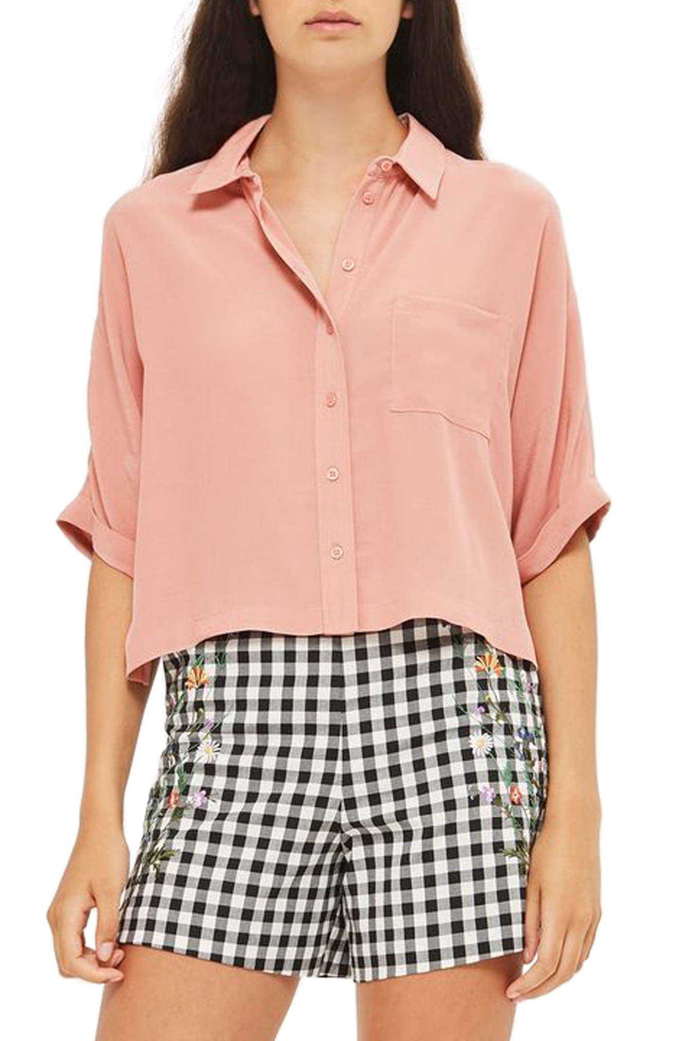 Topshop Kady Roll Sleeve Shirt (Petite)