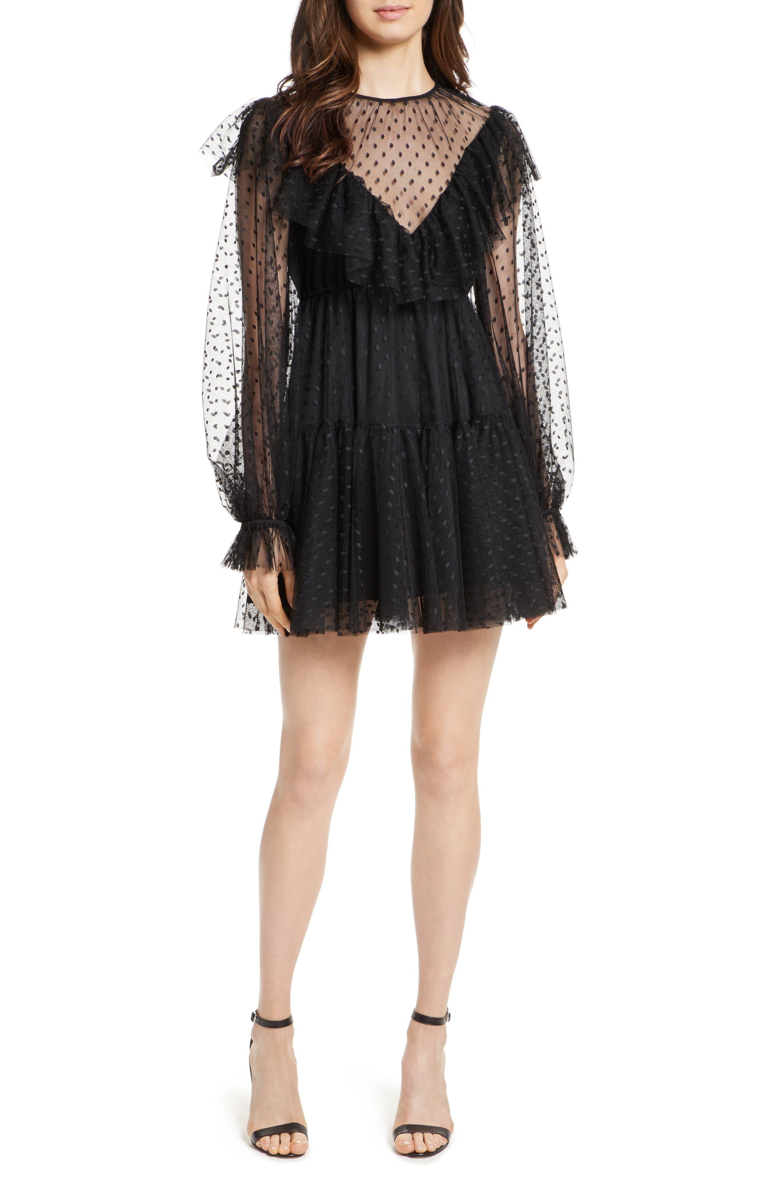 Dot Tulle Victorian Dress,                         Main,                         color, Black