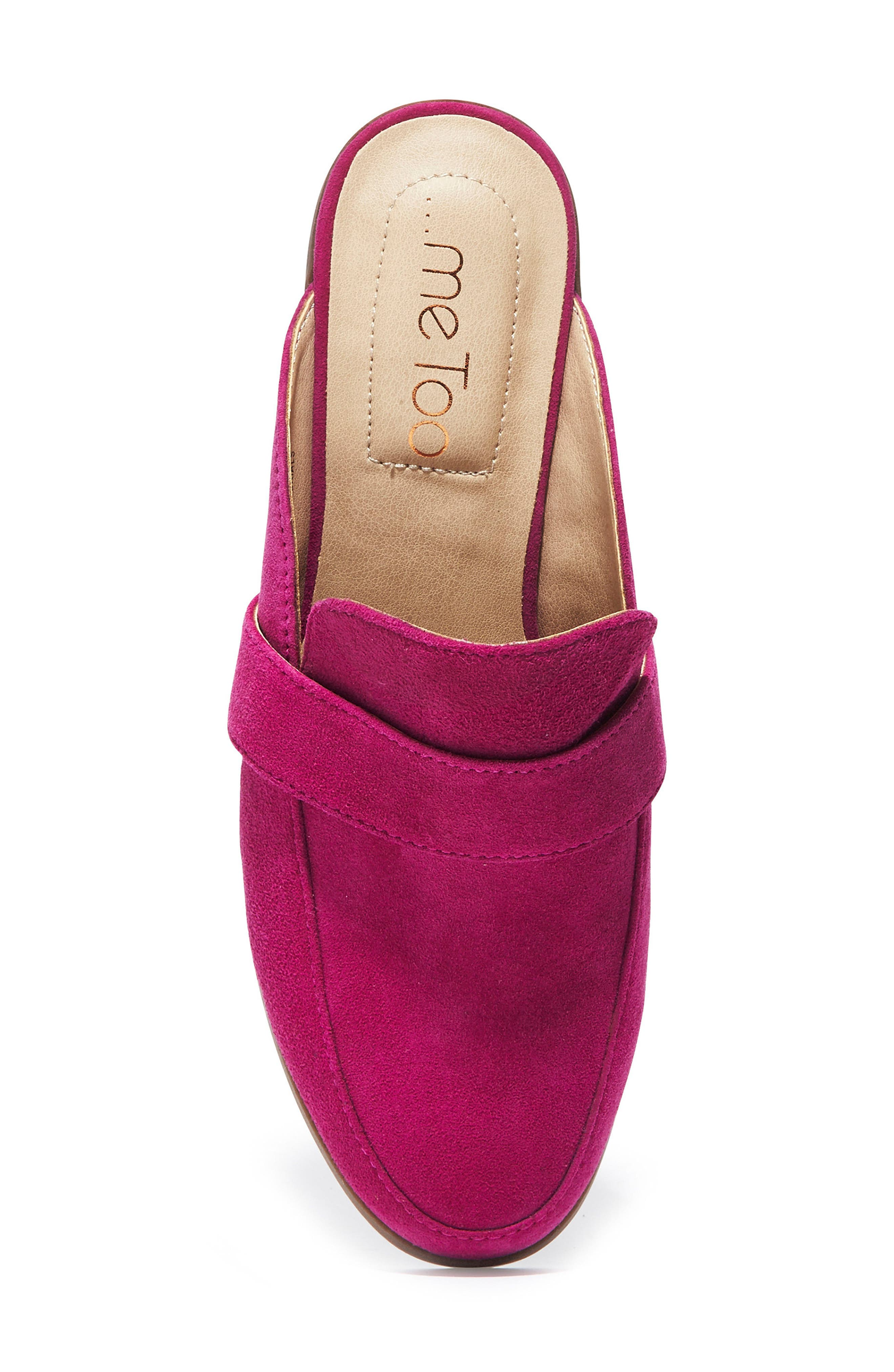 Jada Loafer Mule,                             Alternate thumbnail 4, color,                             Fuchsia Suede