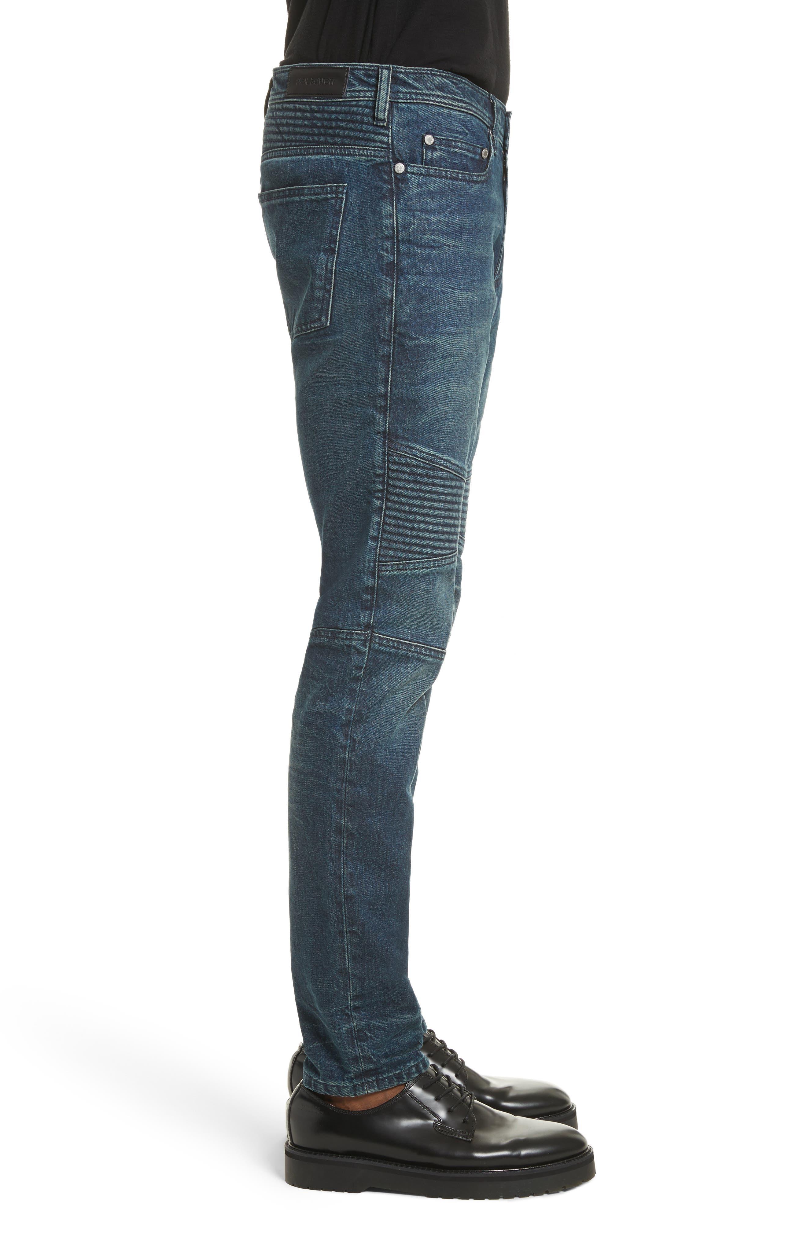 Moto Jeans,                             Alternate thumbnail 3, color,                             Indigo Blue