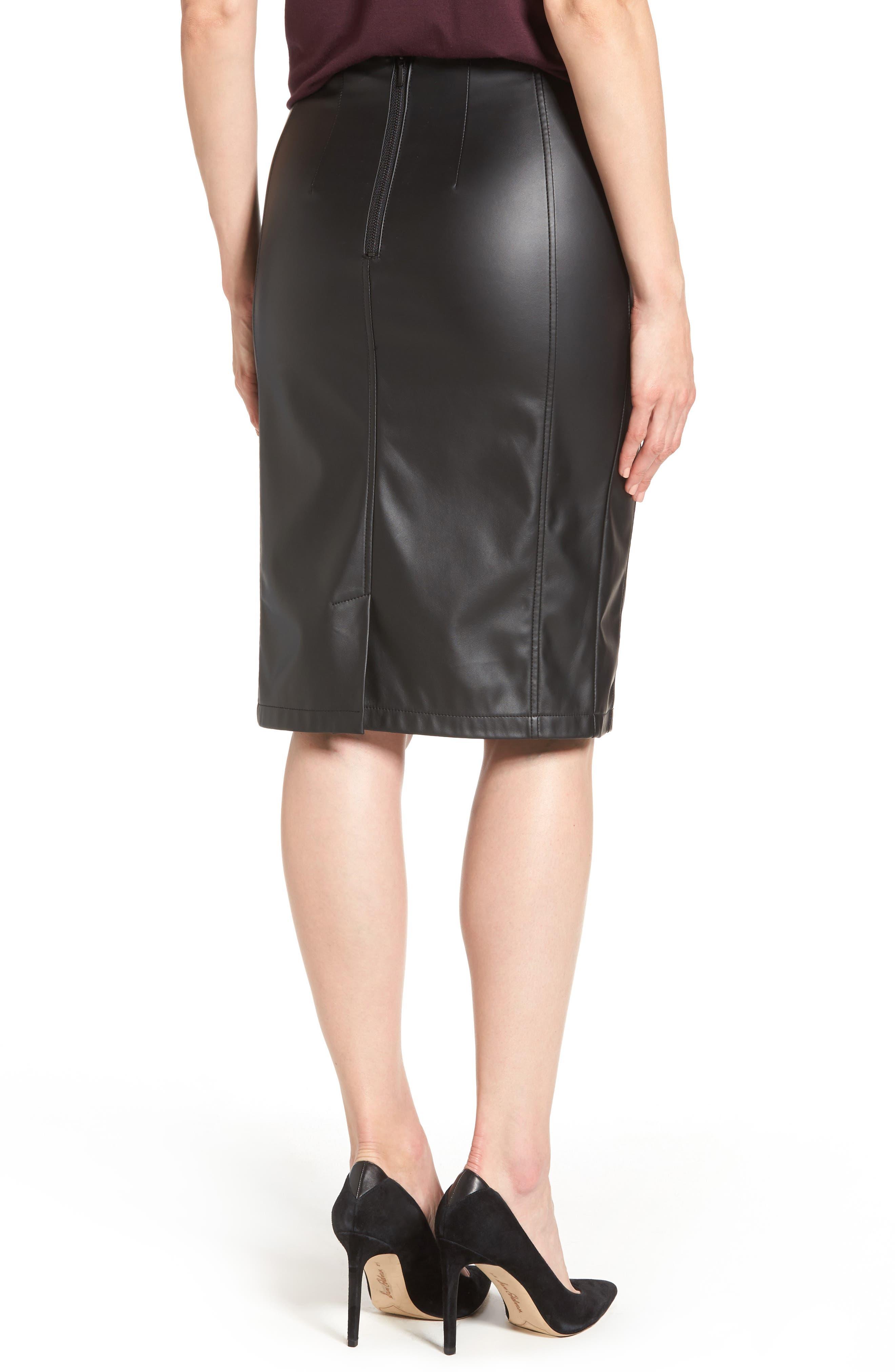 Alternate Image 3  - Halogen® Faux Leather Pencil Skirt (Regular & Petite)