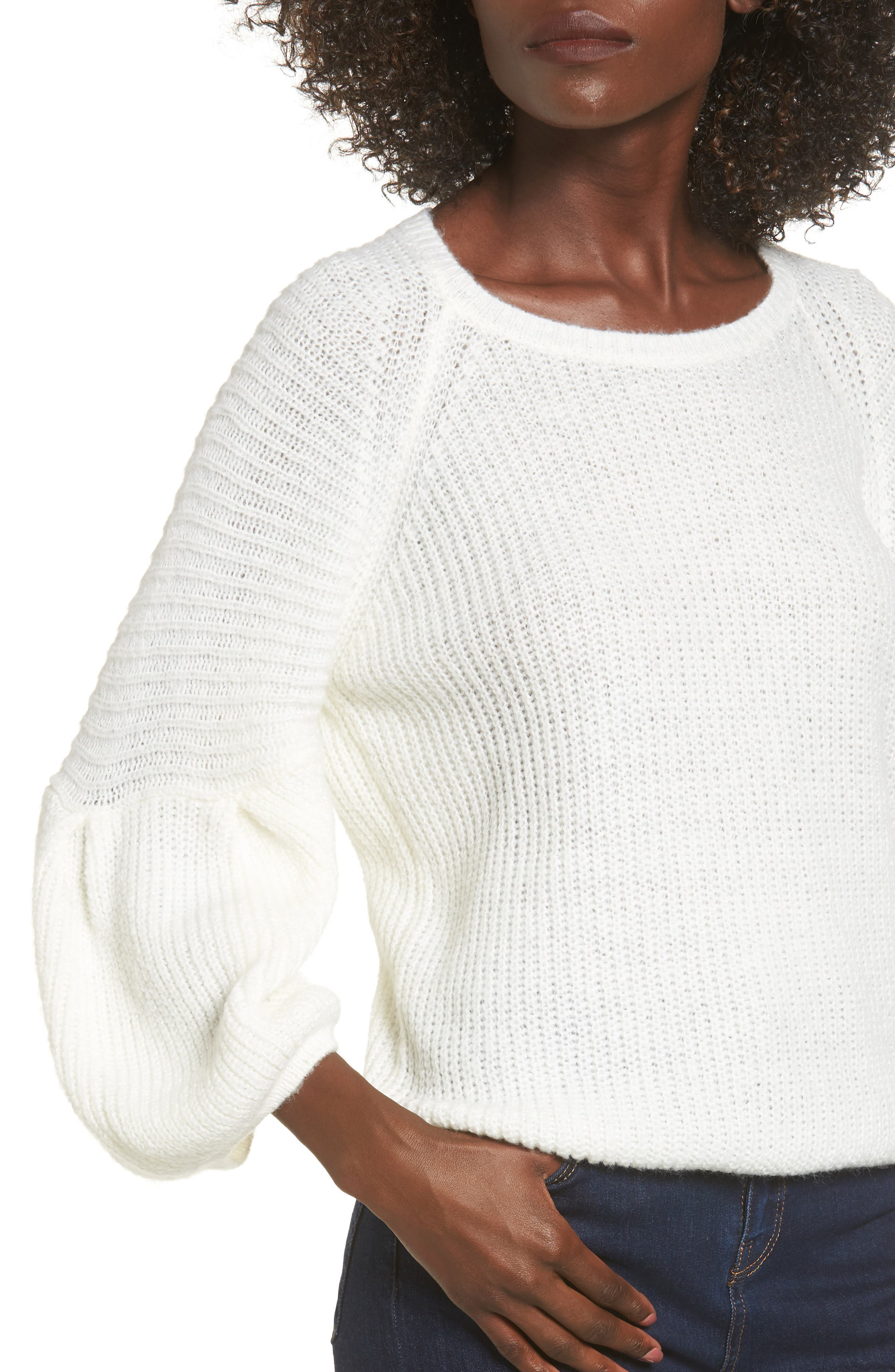 Bubble Sleeve Sweater,                             Alternate thumbnail 4, color,                             Ivory
