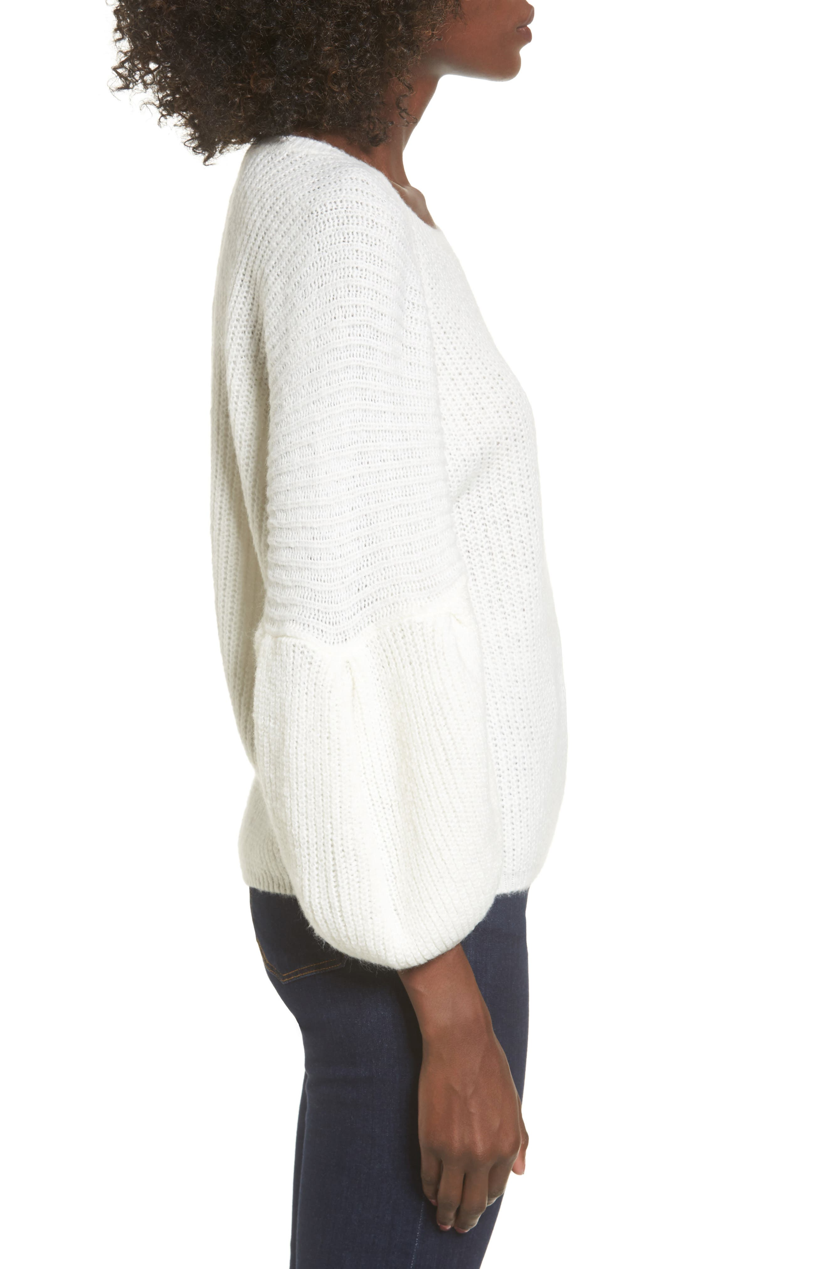 Bubble Sleeve Sweater,                             Alternate thumbnail 3, color,                             Ivory
