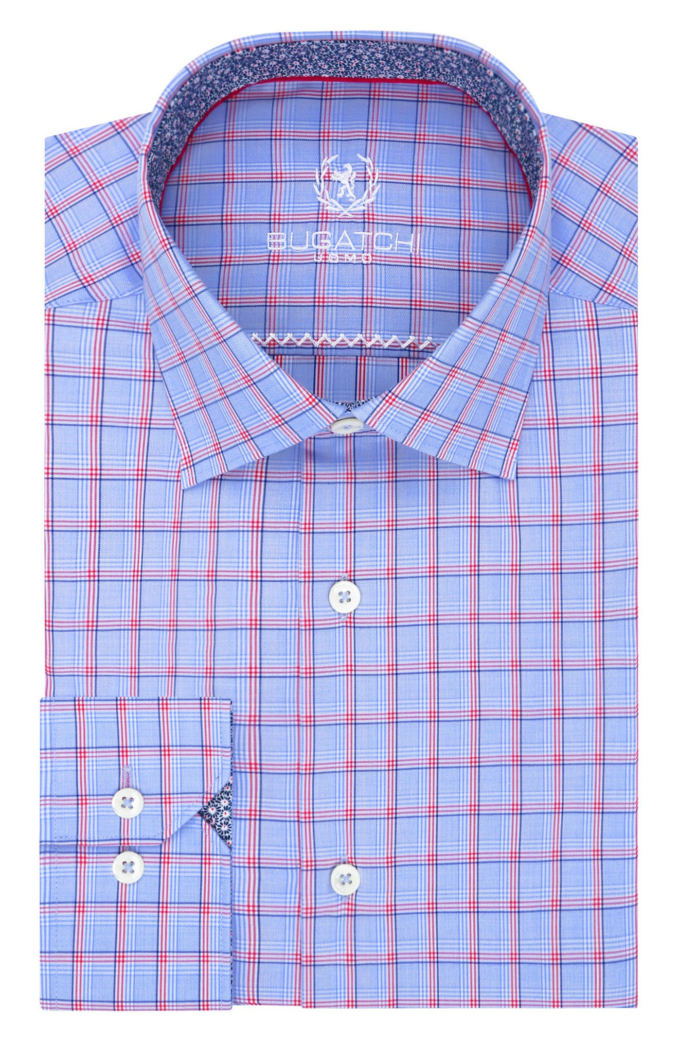 Main Image - Bugatchi Trim Fit Plaid Dress Shirt