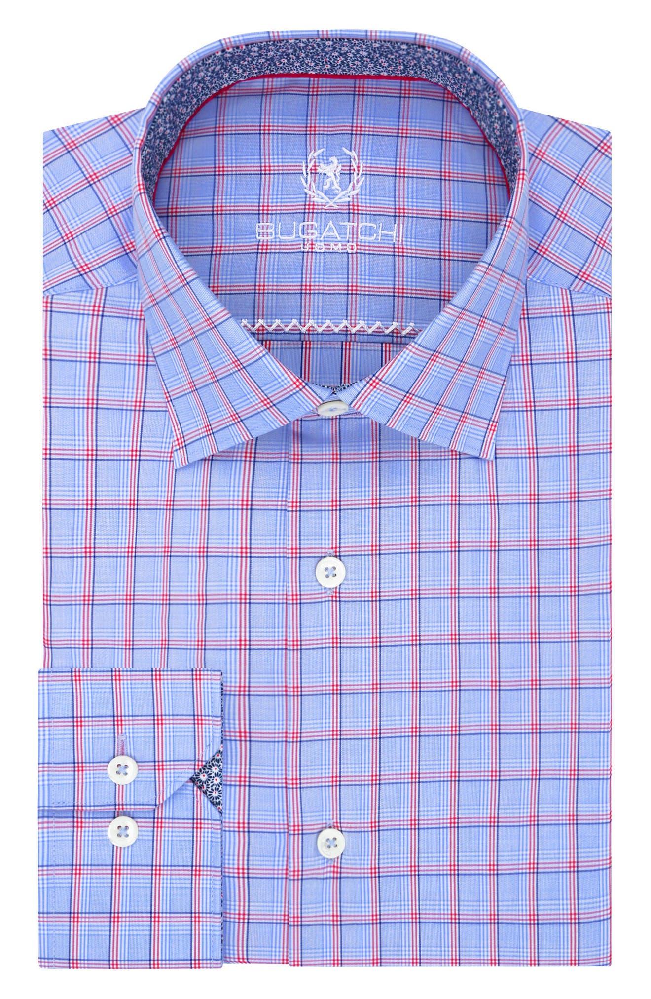 Trim Fit Plaid Dress Shirt,                         Main,                         color, Classic Blue