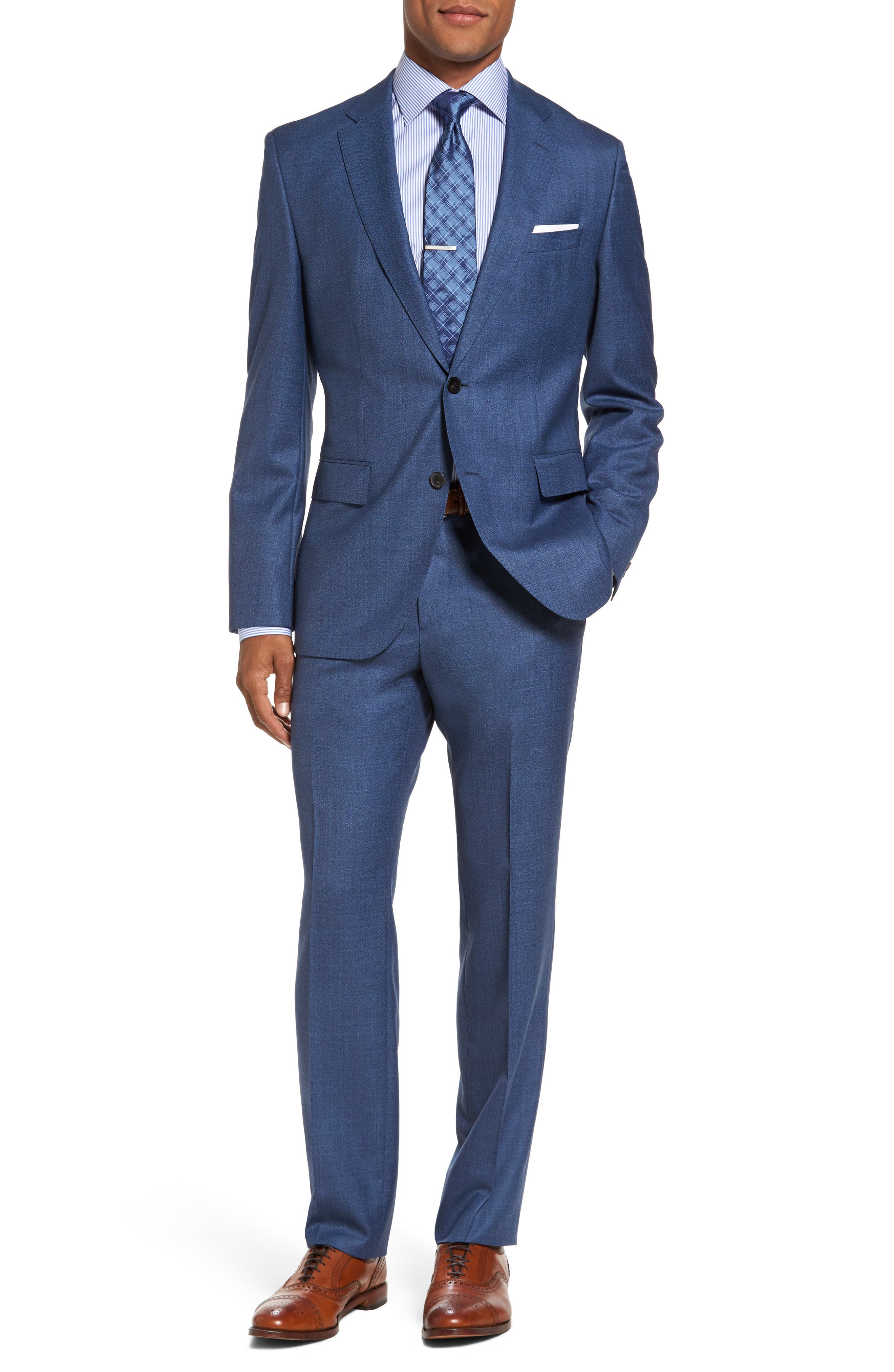 Johnstons/Lenon Classic Fit Solid Wool Suit,                             Main thumbnail 1, color,                             Medium Blue
