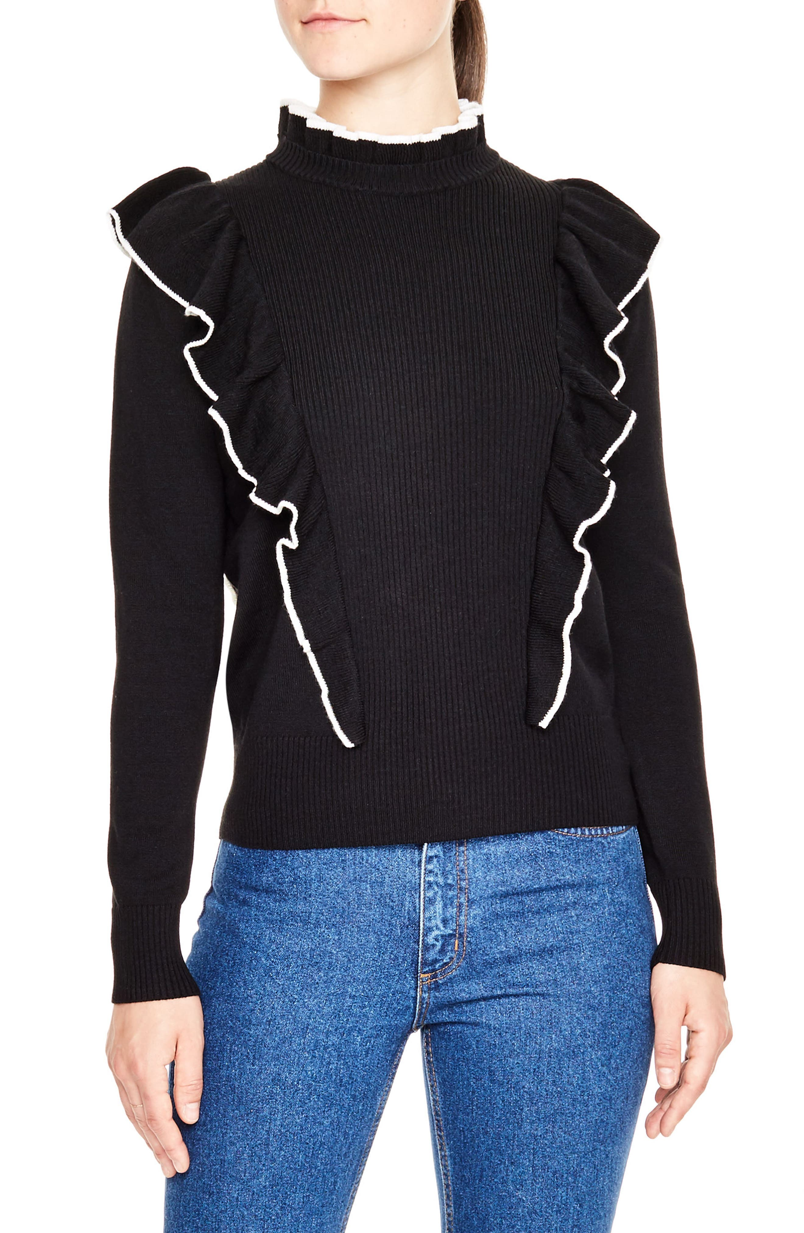 Main Image - sandro Ruffle Turtleneck Sweater