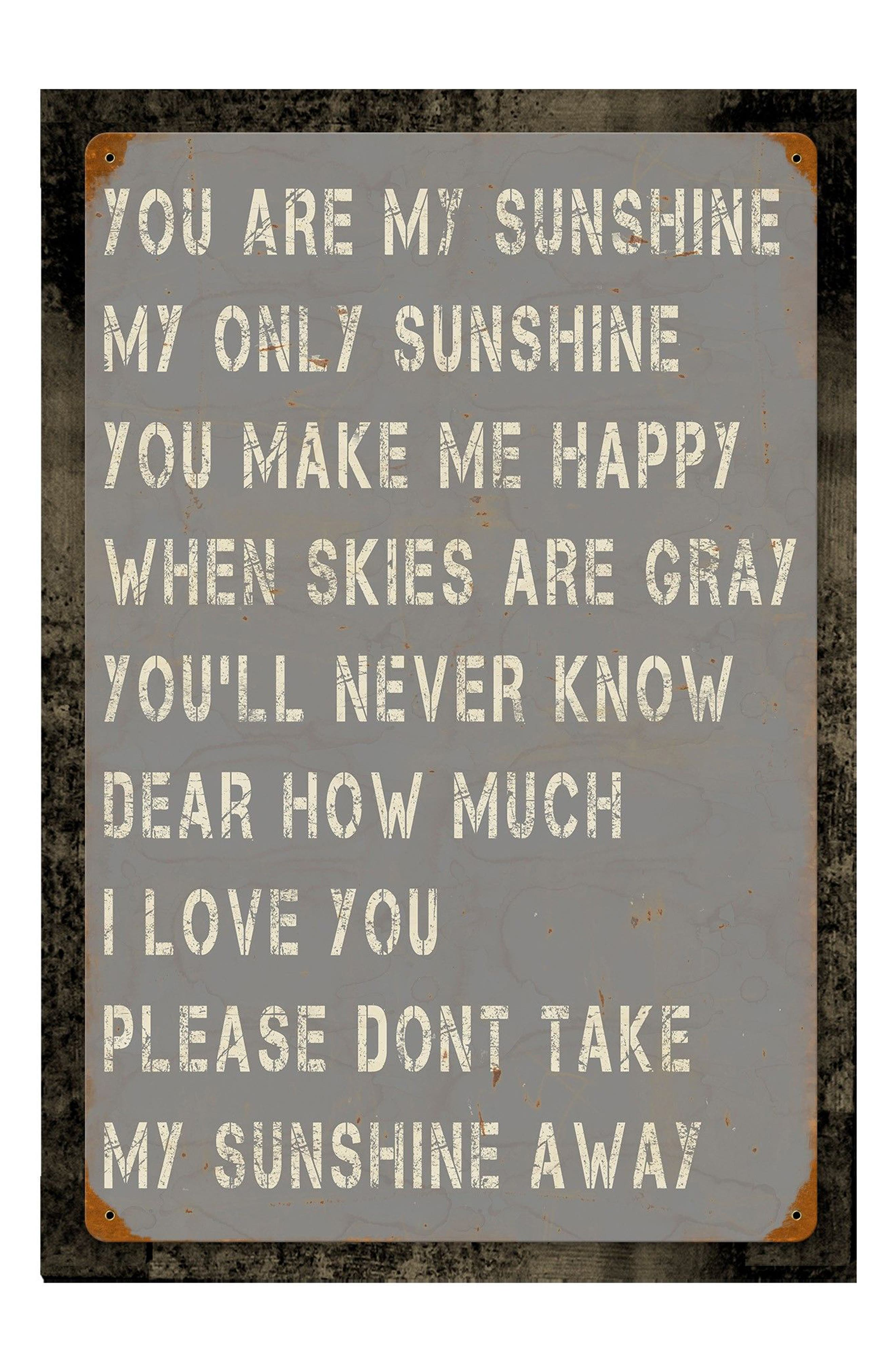 You Are My Sunshine Wall Art,                             Main thumbnail 1, color,                             Grey