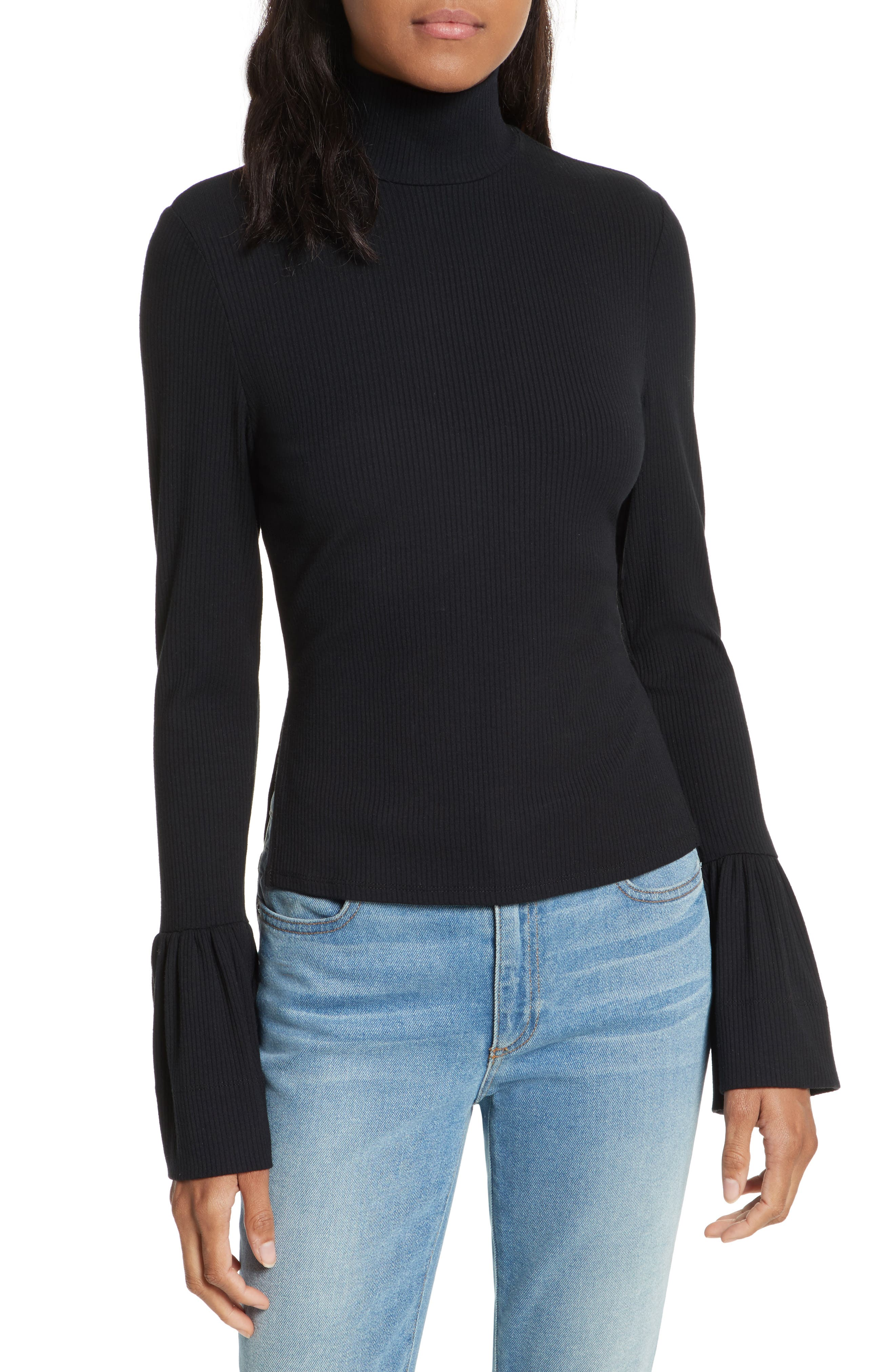 May Bell Sleeve Turtleneck,                         Main,                         color, Black