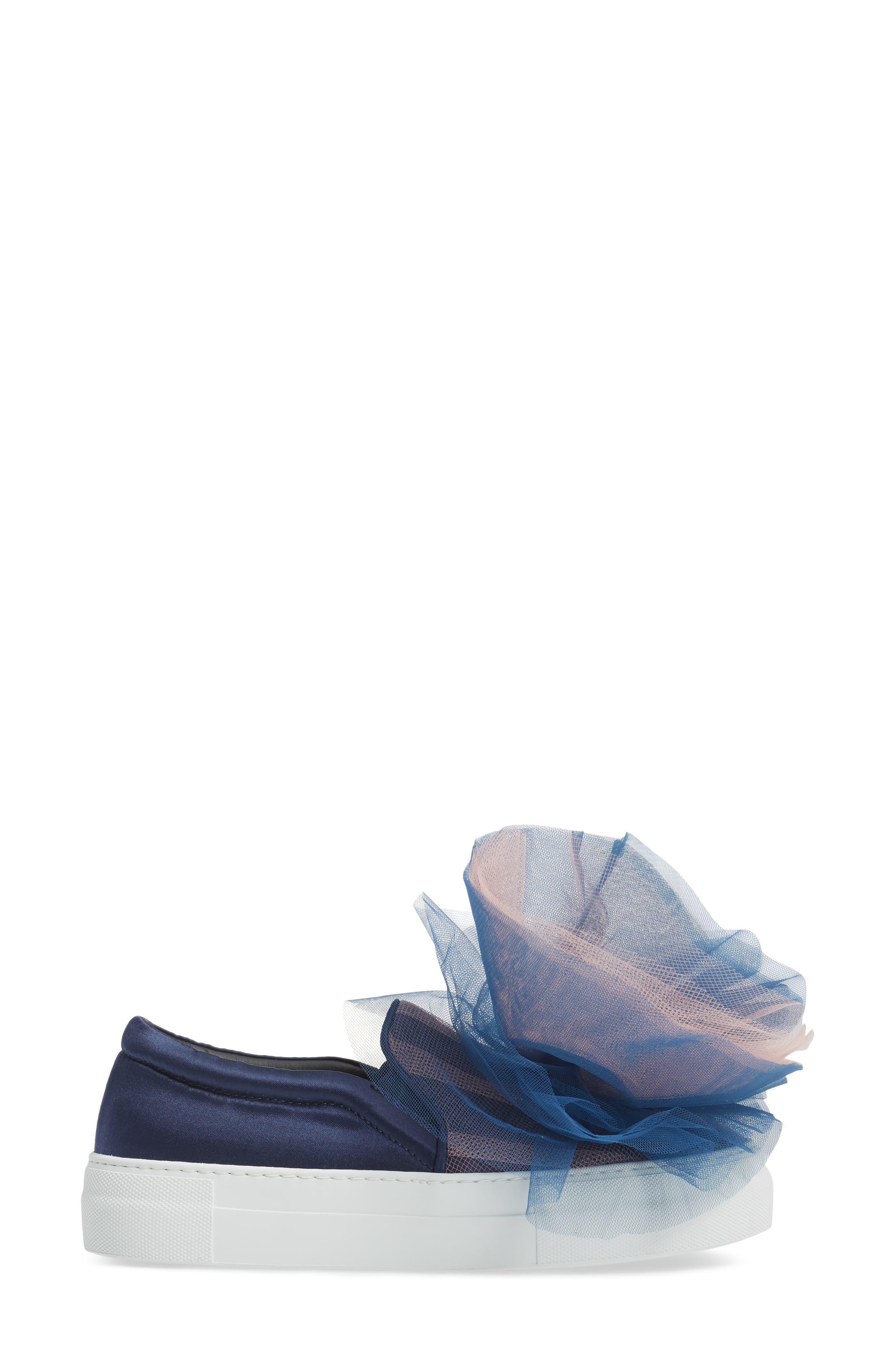 Tulle Slip-On Sneaker,                             Alternate thumbnail 3, color,                             Navy Pink Combo