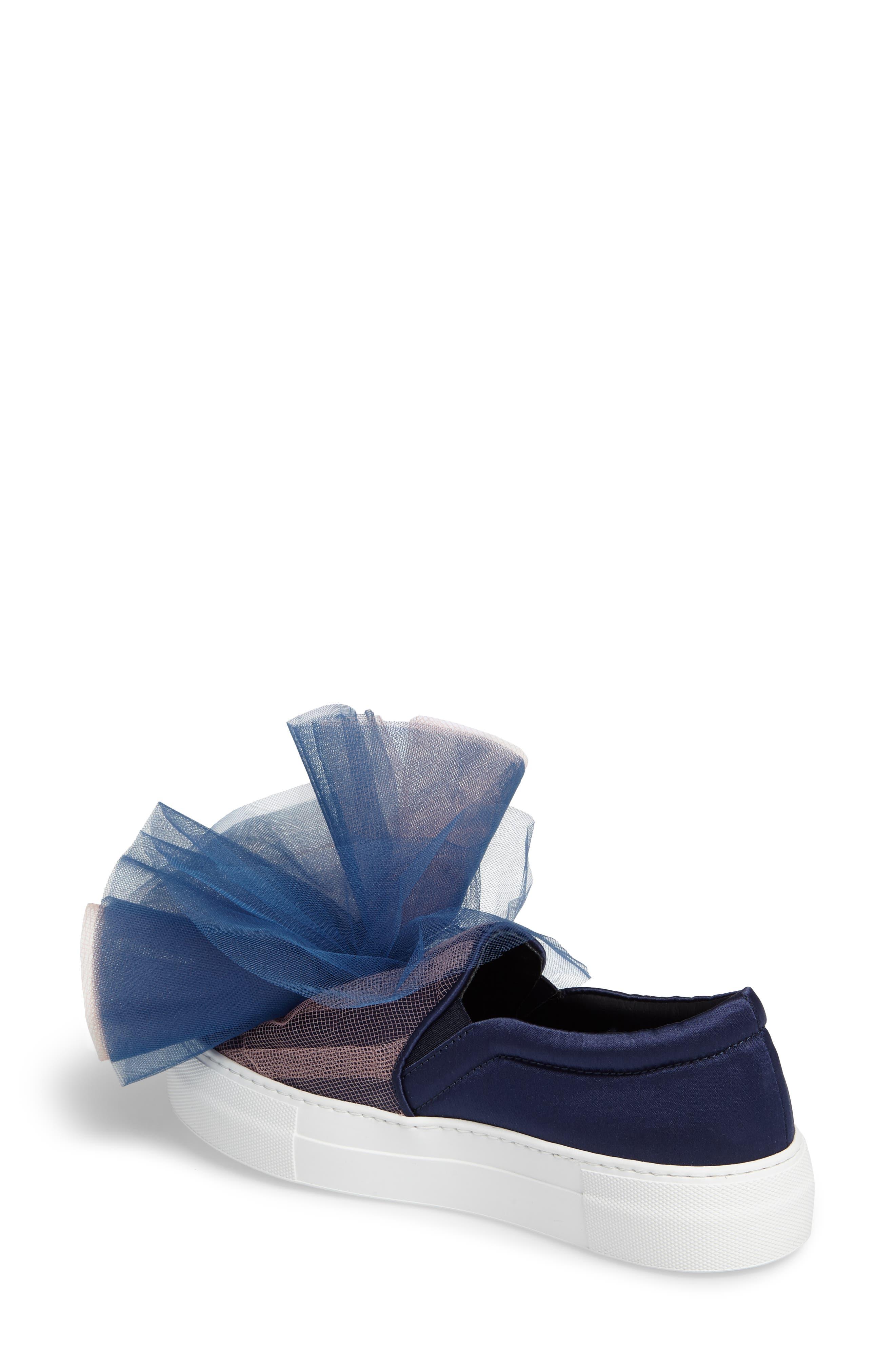 Tulle Slip-On Sneaker,                             Alternate thumbnail 2, color,                             Navy Pink Combo