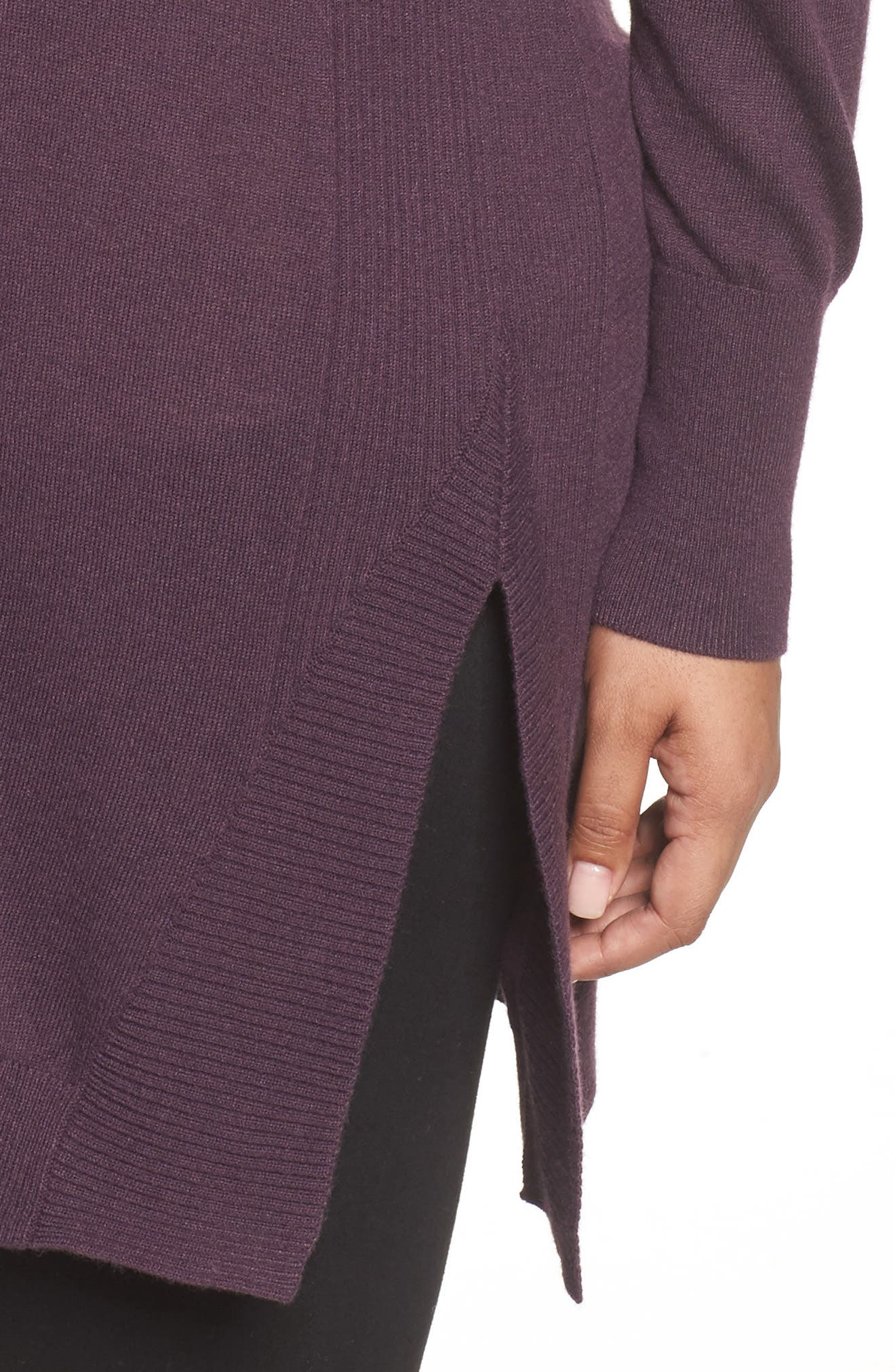 V-Neck Asymmetrical Tunic,                             Alternate thumbnail 4, color,                             Purple Plum