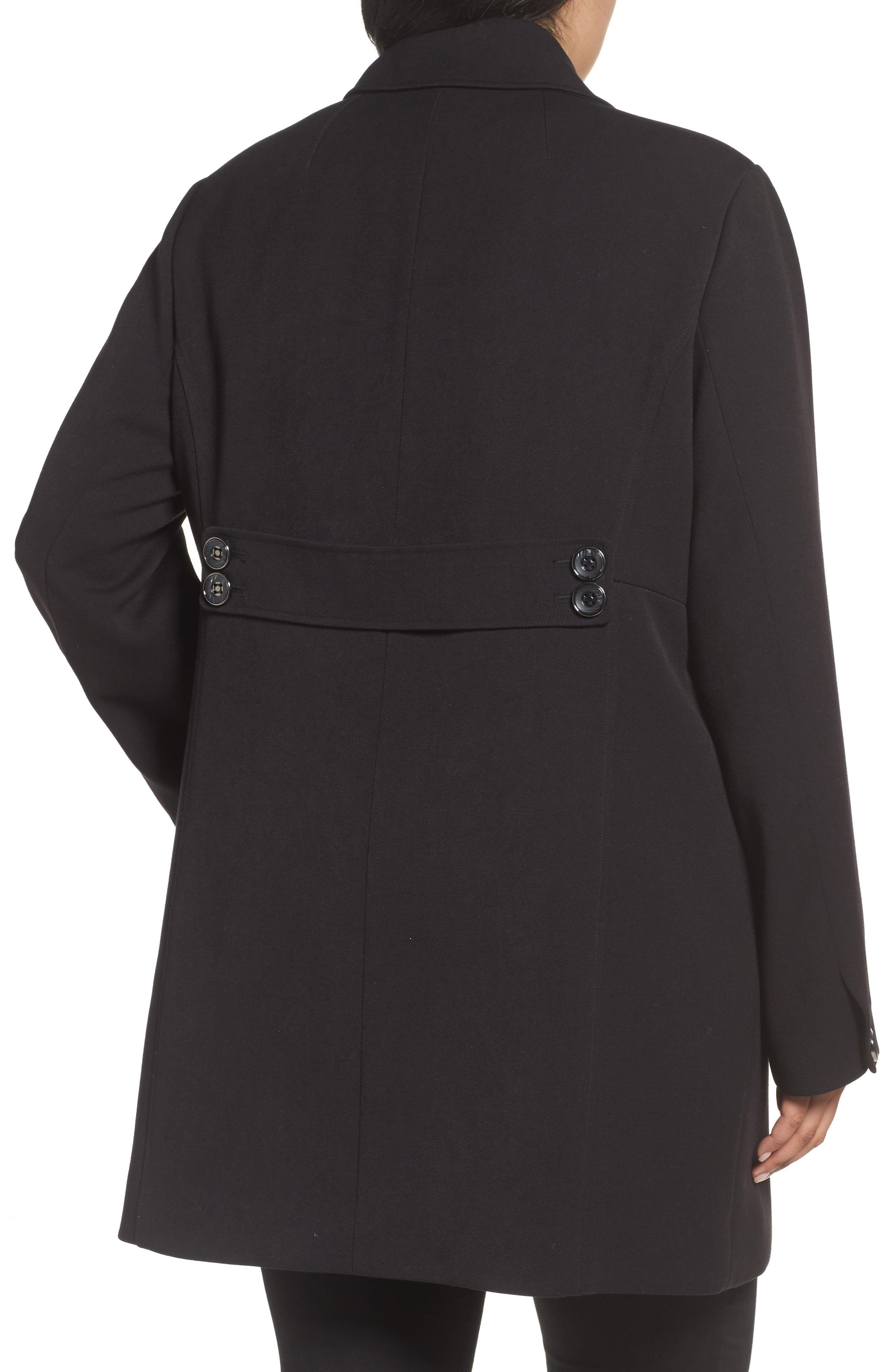 Single Breasted Ponte Coat,                             Alternate thumbnail 2, color,                             Black