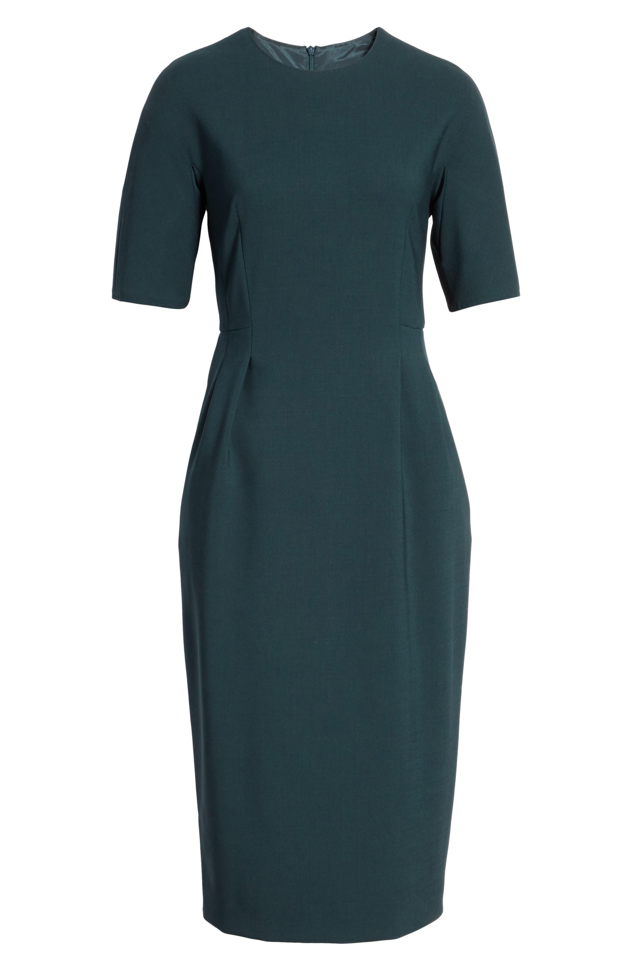 Umano Stretch Wool Sheath Dress,                             Alternate thumbnail 7, color,                             Dark Green
