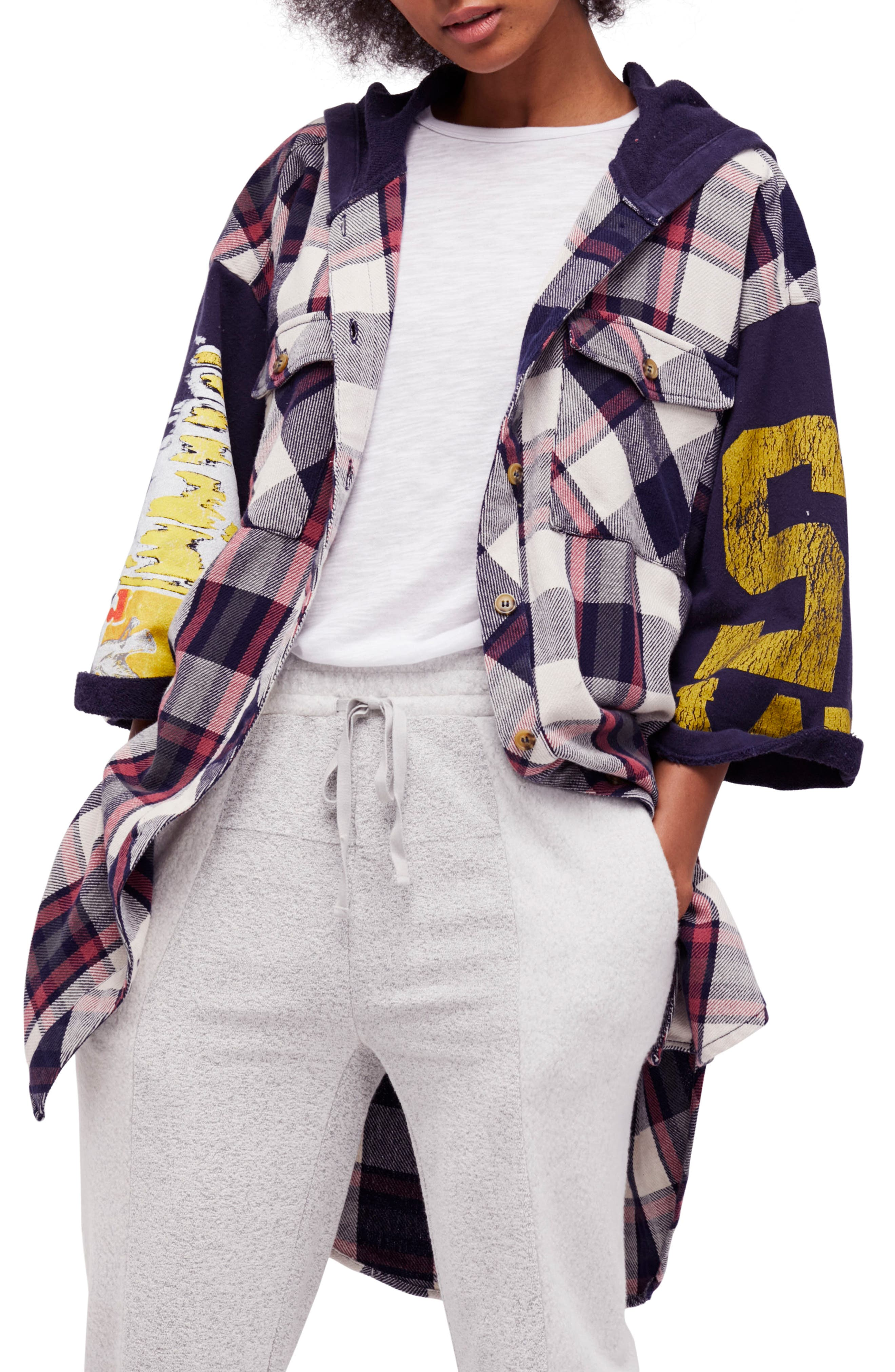 Free People Maddox Plaid Patched Tunic