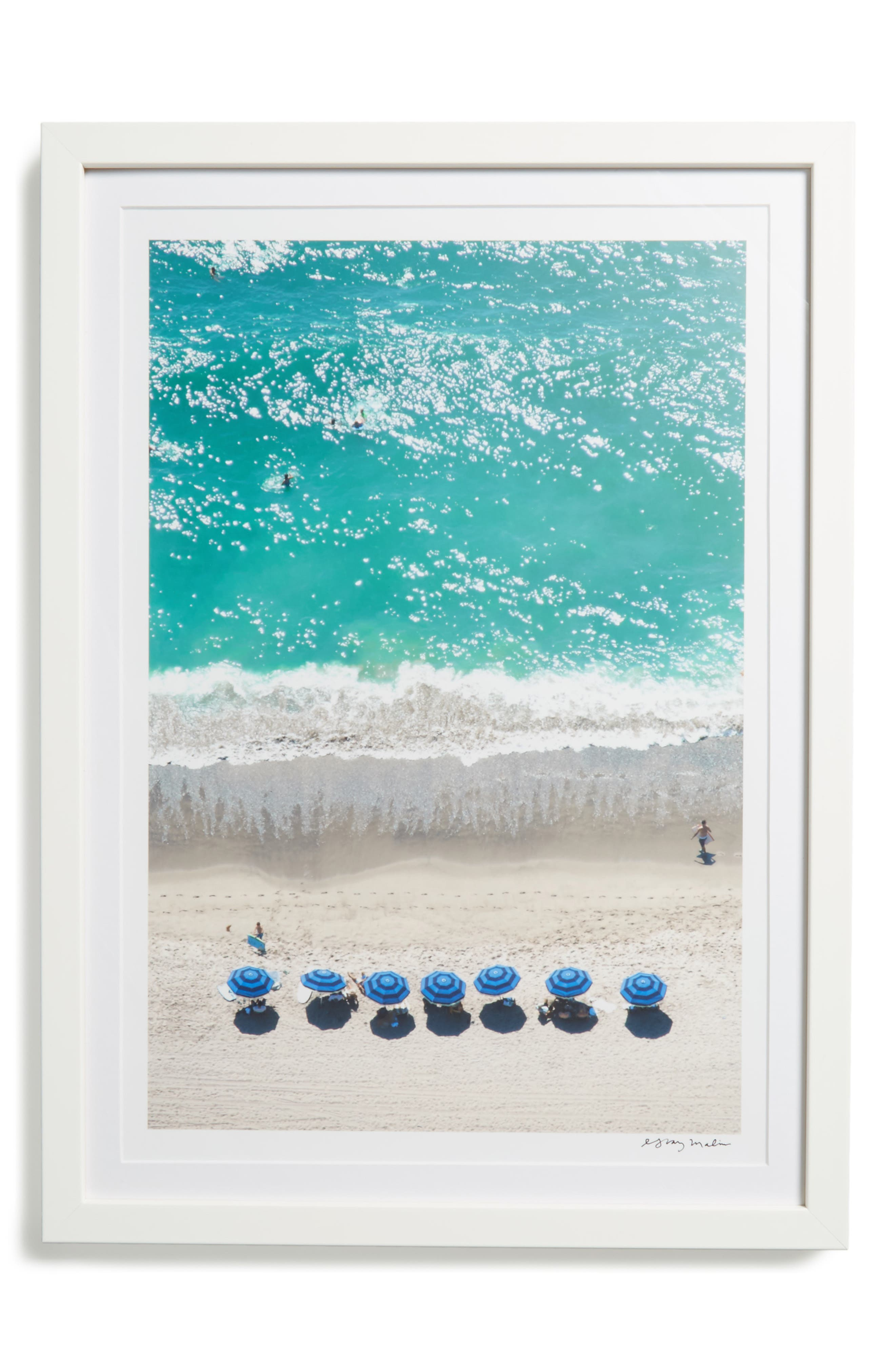 Santa Monica Framed Art Print,                         Main,                         color, Blue