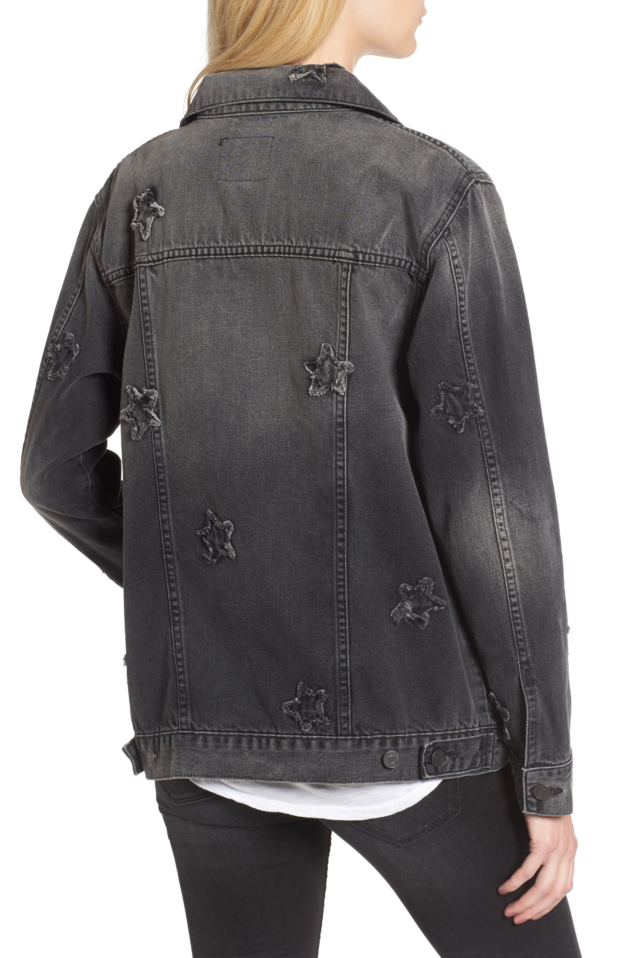 Knox Star Patch Denim Jacket,                             Alternate thumbnail 3, color,                             Vintage Black