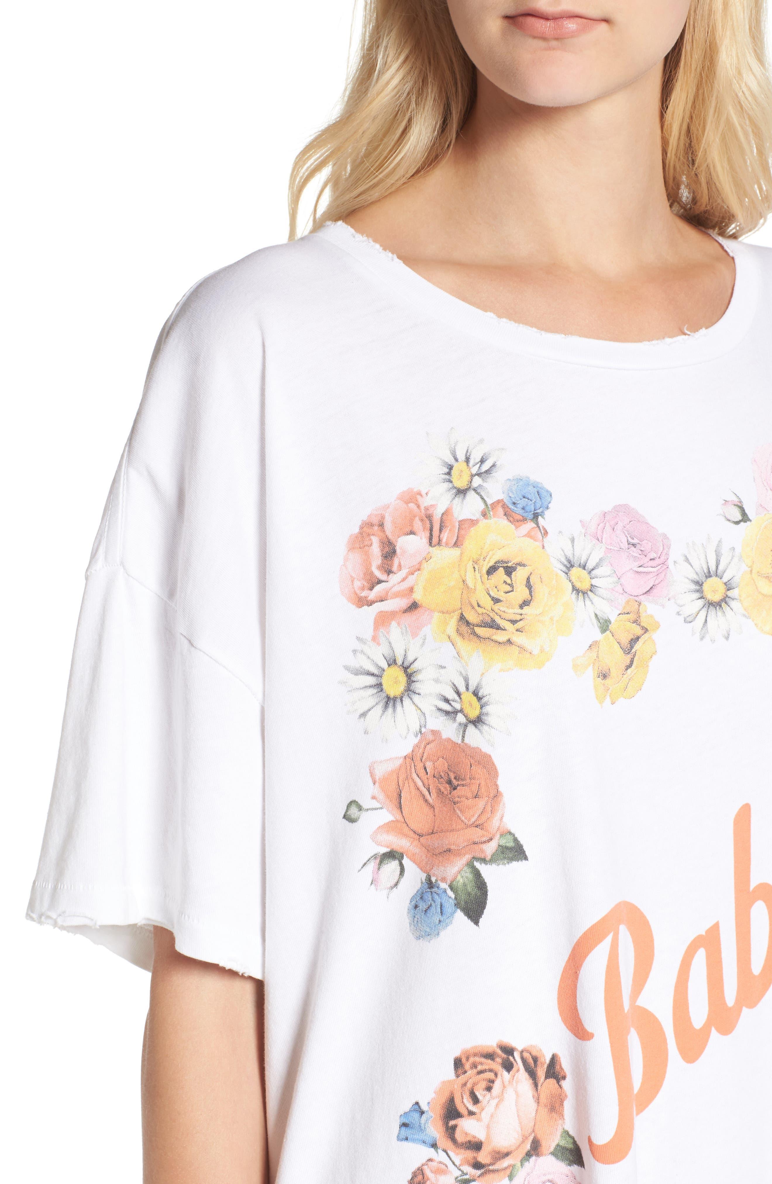 Babe T-Shirt Dress,                             Alternate thumbnail 4, color,                             Clean White