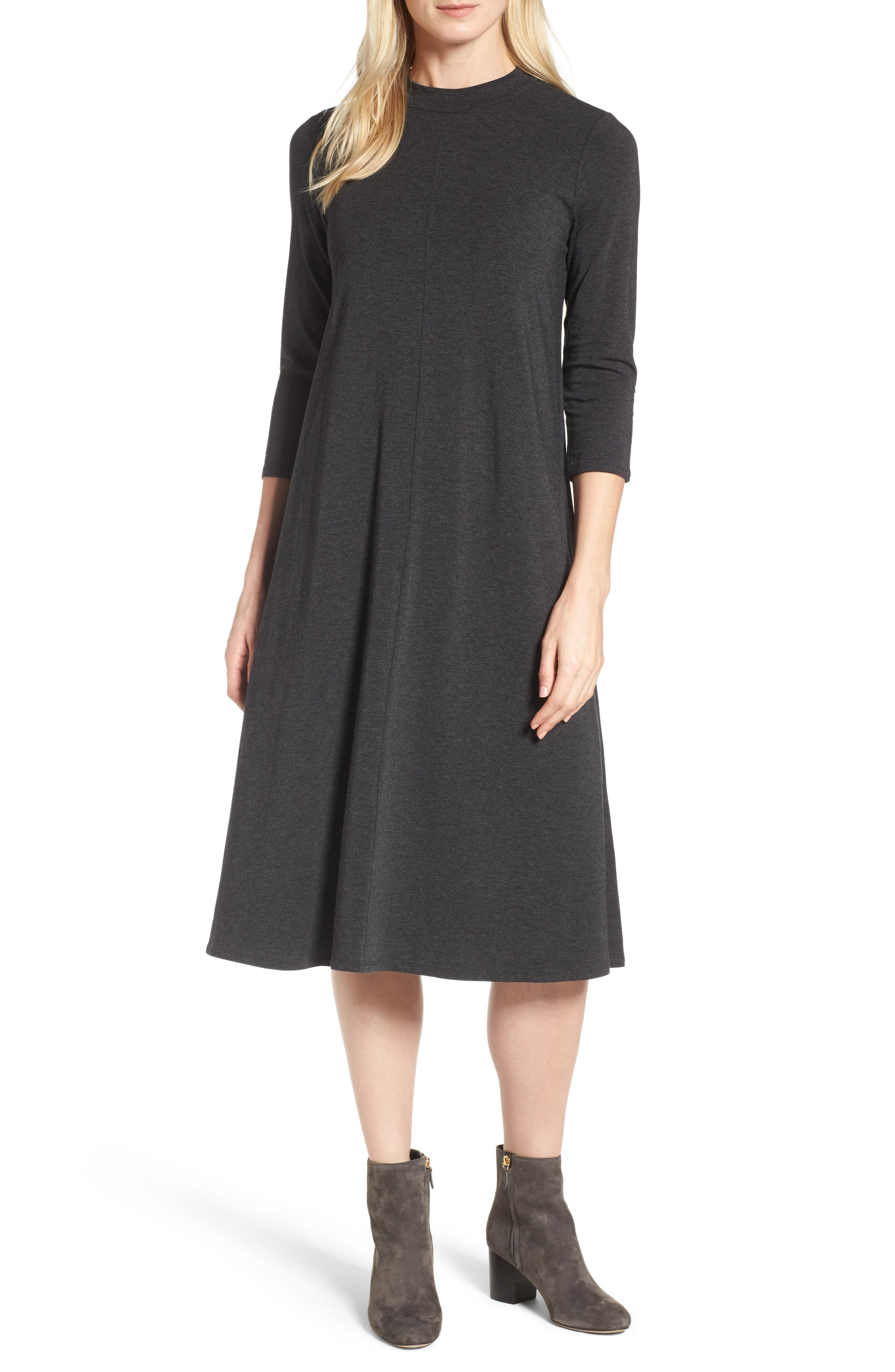 Stretch Tencel<sup>®</sup> Lyocell Midi Dress,                         Main,                         color, Charcoal