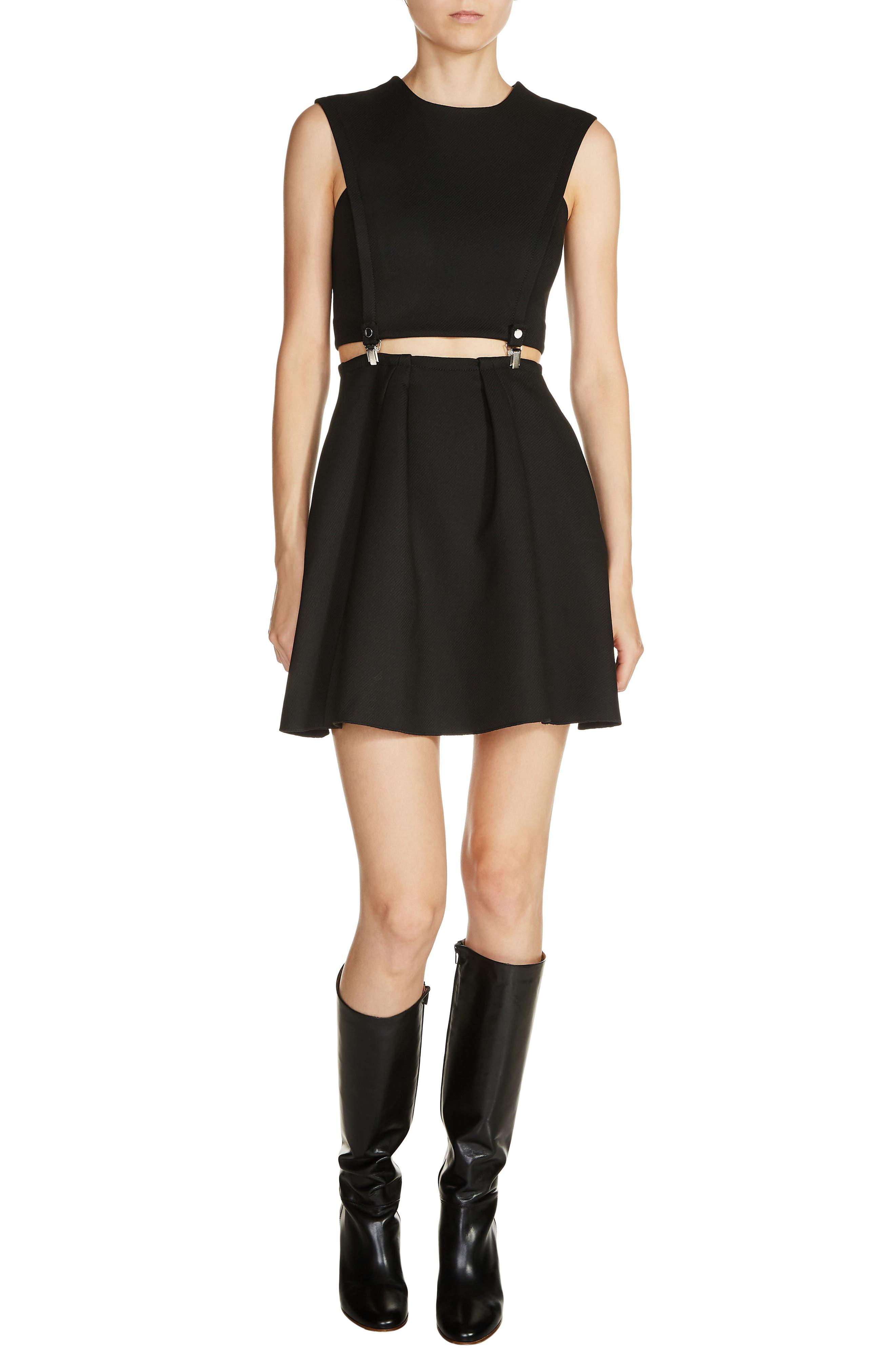 2-Piece Fit & Flare Dress,                         Main,                         color, Black